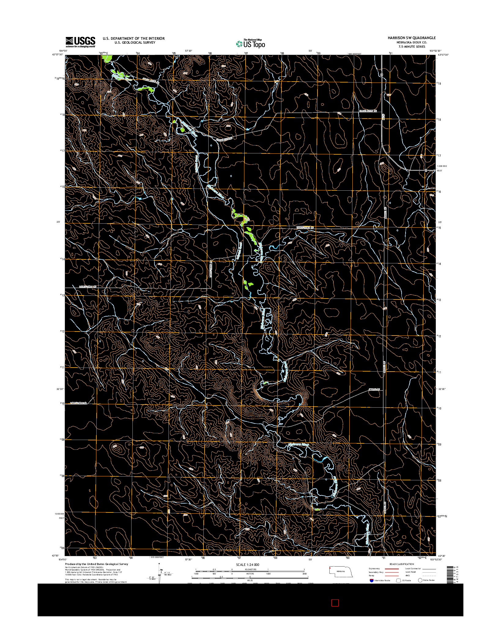 USGS US TOPO 7.5-MINUTE MAP FOR HARRISON SW, NE 2014