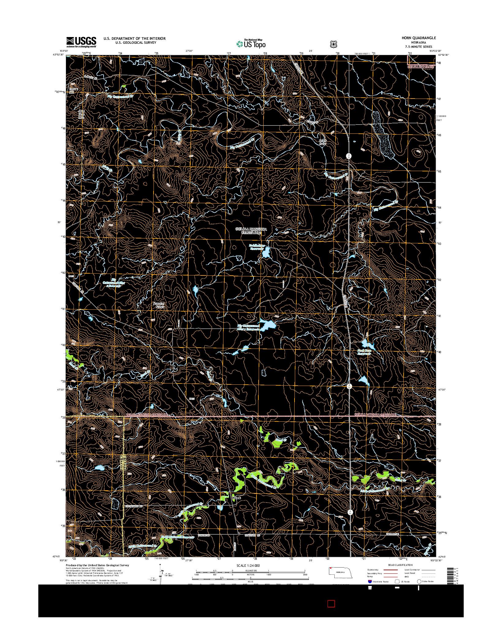 USGS US TOPO 7.5-MINUTE MAP FOR HORN, NE 2014