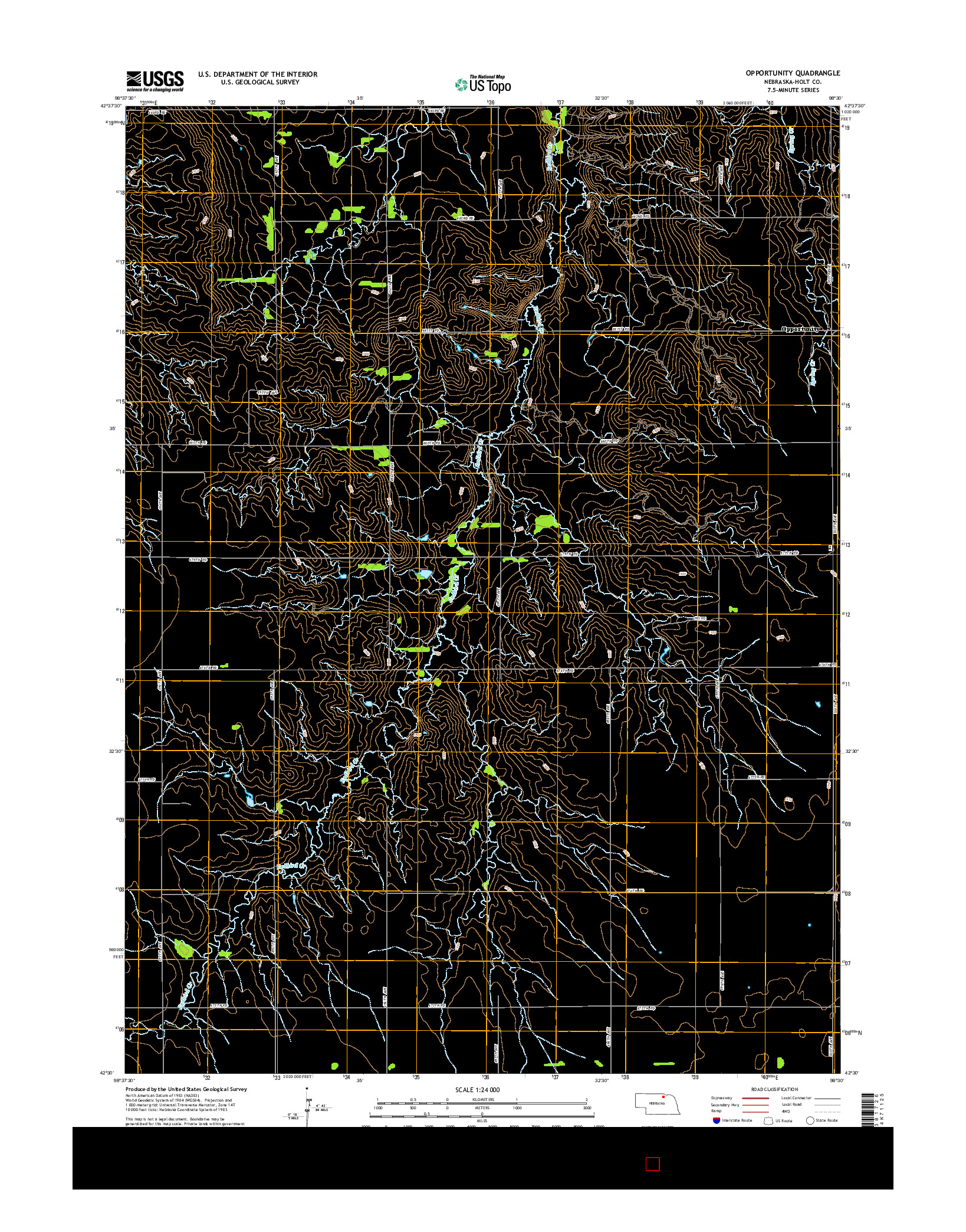 USGS US TOPO 7.5-MINUTE MAP FOR OPPORTUNITY, NE 2014