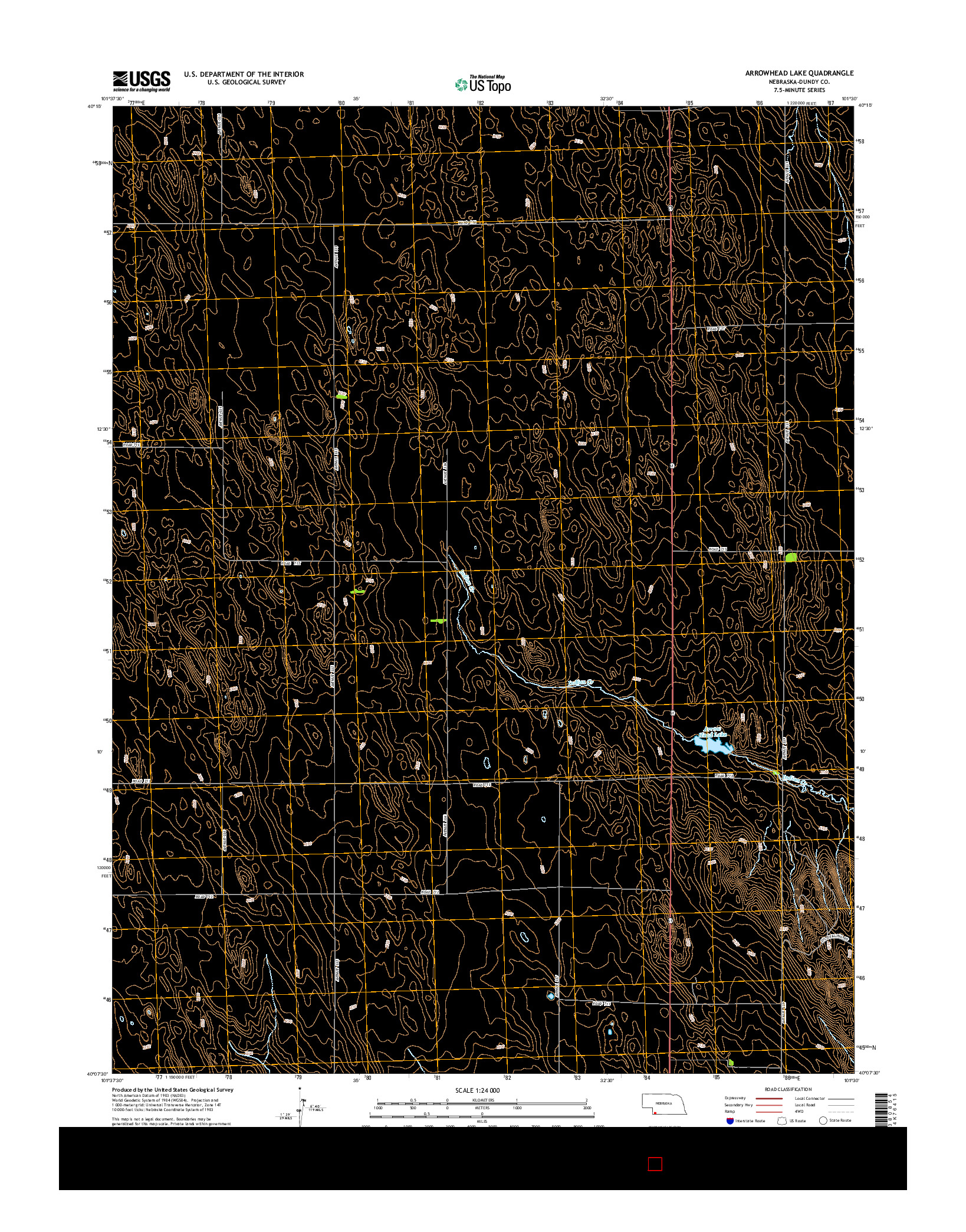 USGS US TOPO 7.5-MINUTE MAP FOR ARROWHEAD LAKE, NE 2014