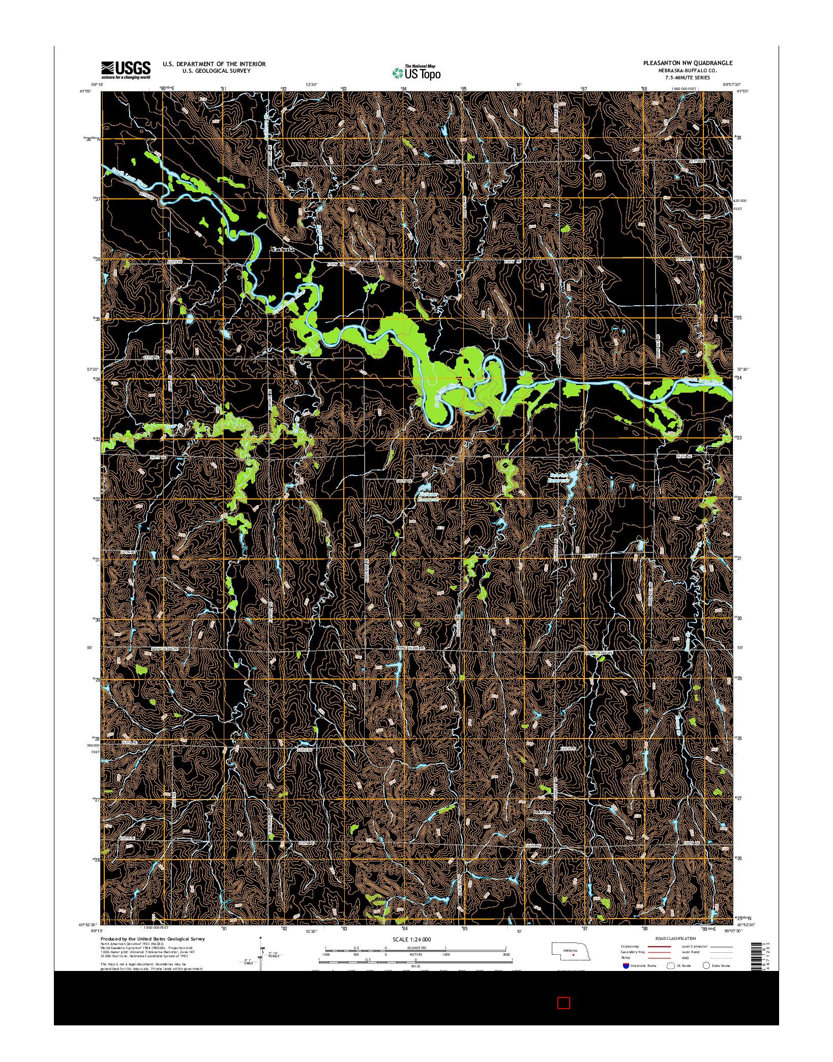 USGS US TOPO 7.5-MINUTE MAP FOR PLEASANTON NW, NE 2014