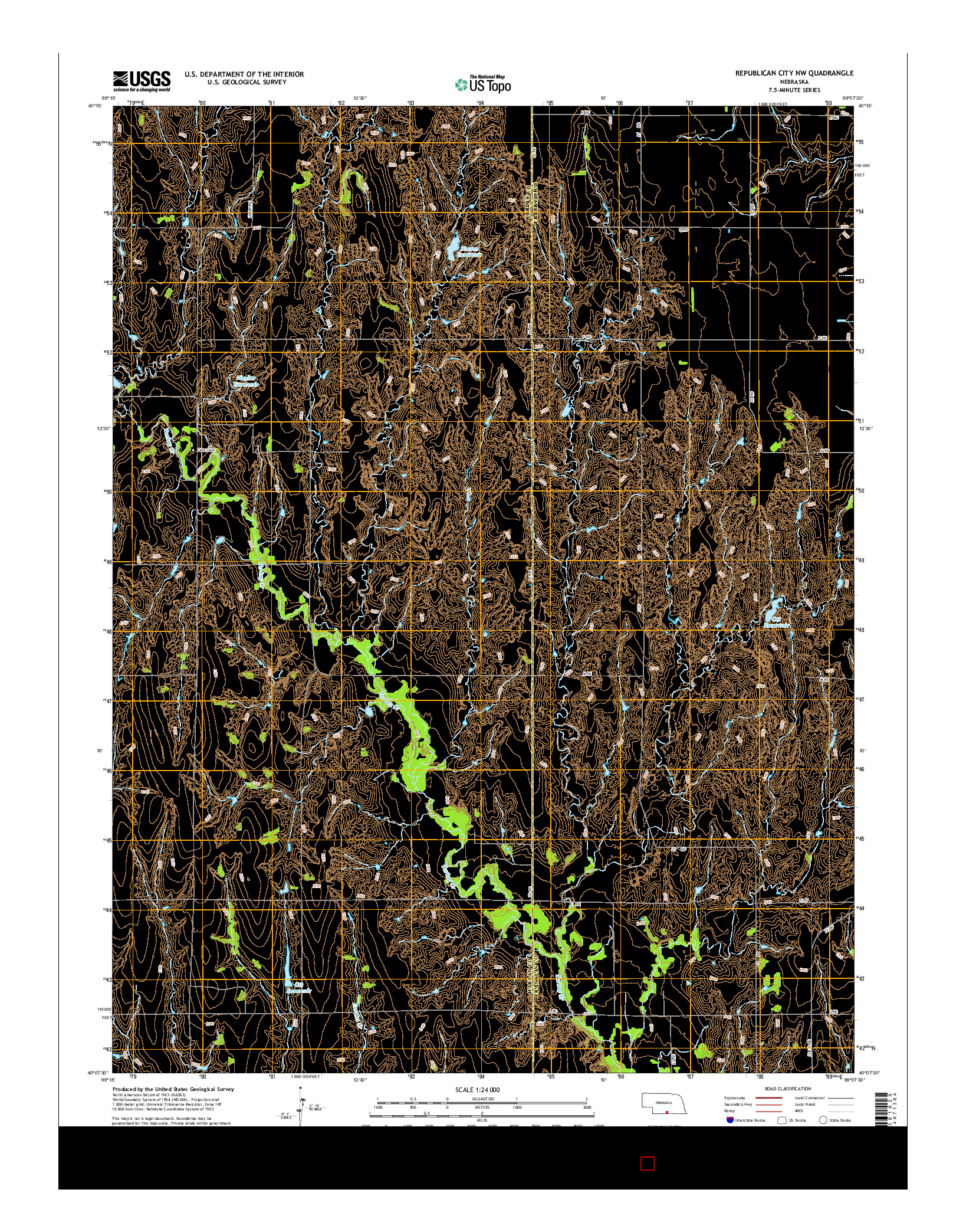 USGS US TOPO 7.5-MINUTE MAP FOR REPUBLICAN CITY NW, NE 2014