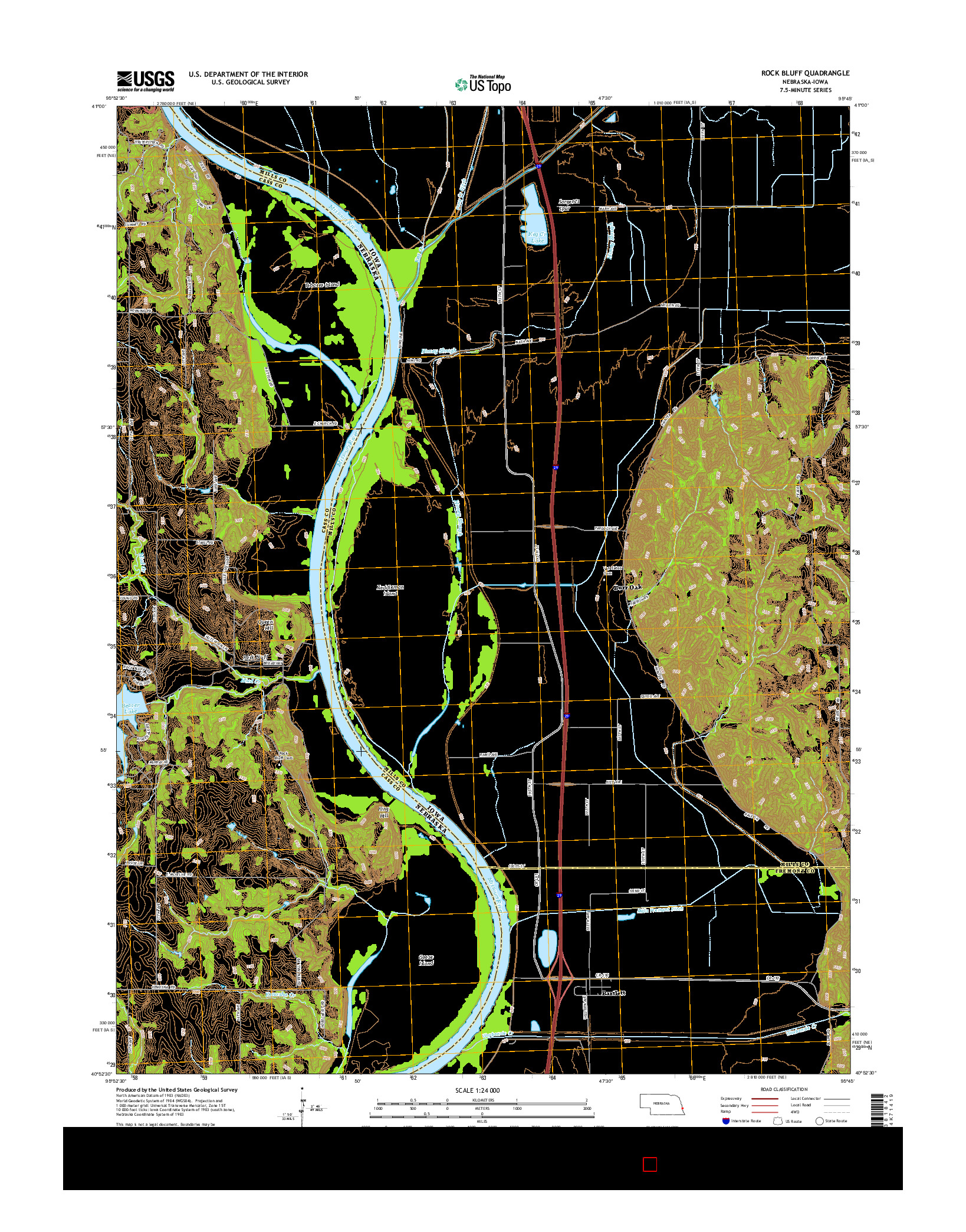 USGS US TOPO 7.5-MINUTE MAP FOR ROCK BLUFF, NE-IA 2014