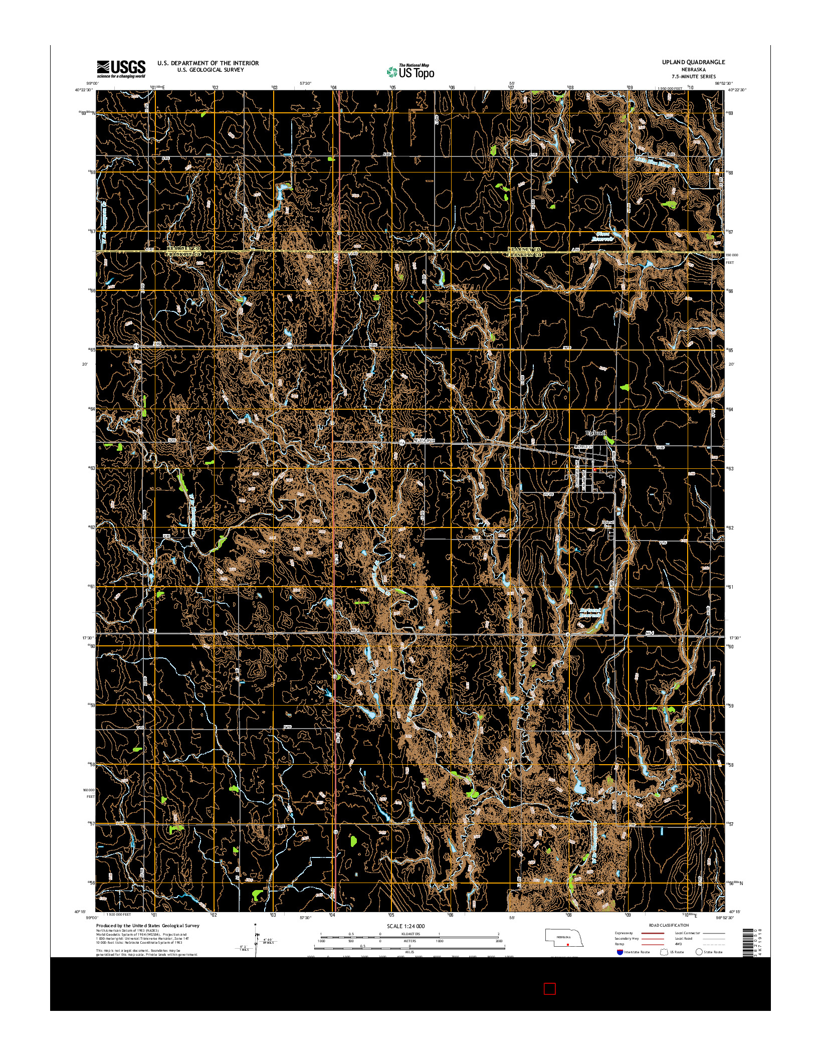 USGS US TOPO 7.5-MINUTE MAP FOR UPLAND, NE 2014