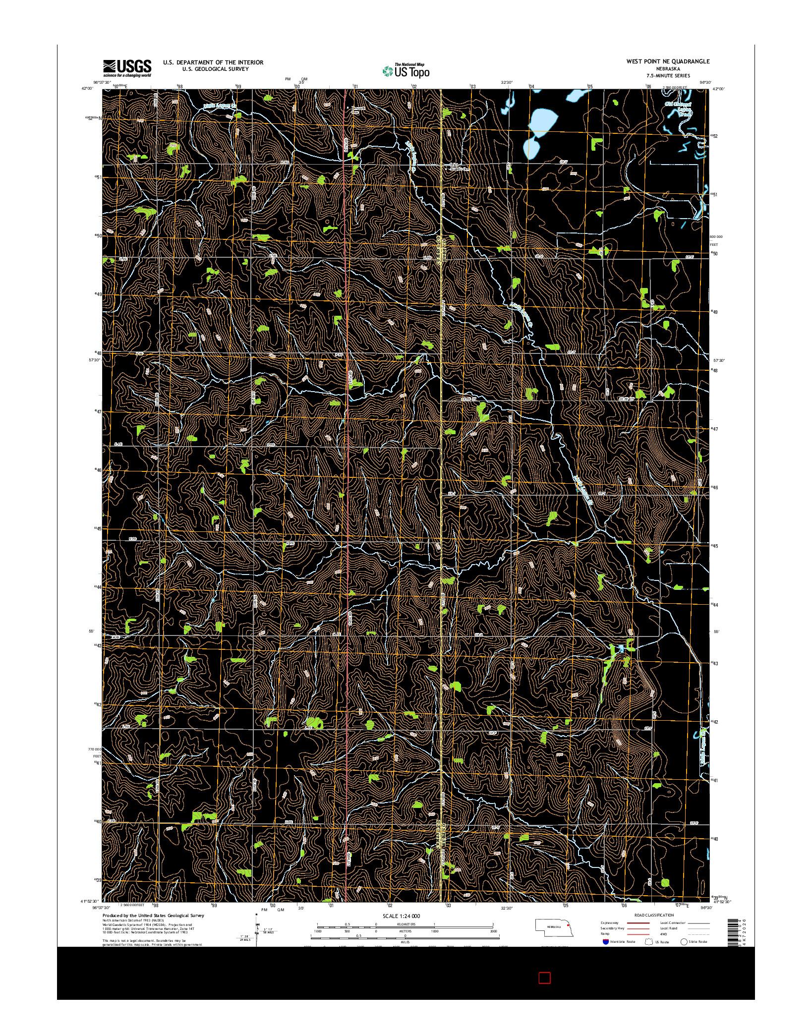 USGS US TOPO 7.5-MINUTE MAP FOR WEST POINT NE, NE 2014
