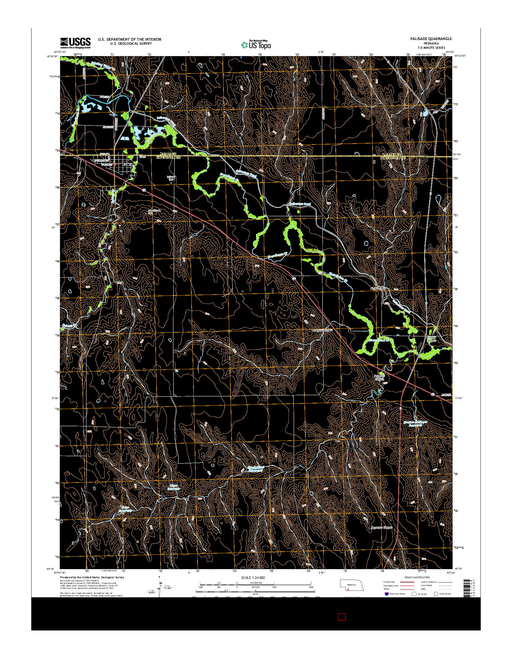 USGS US TOPO 7.5-MINUTE MAP FOR PALISADE, NE 2014