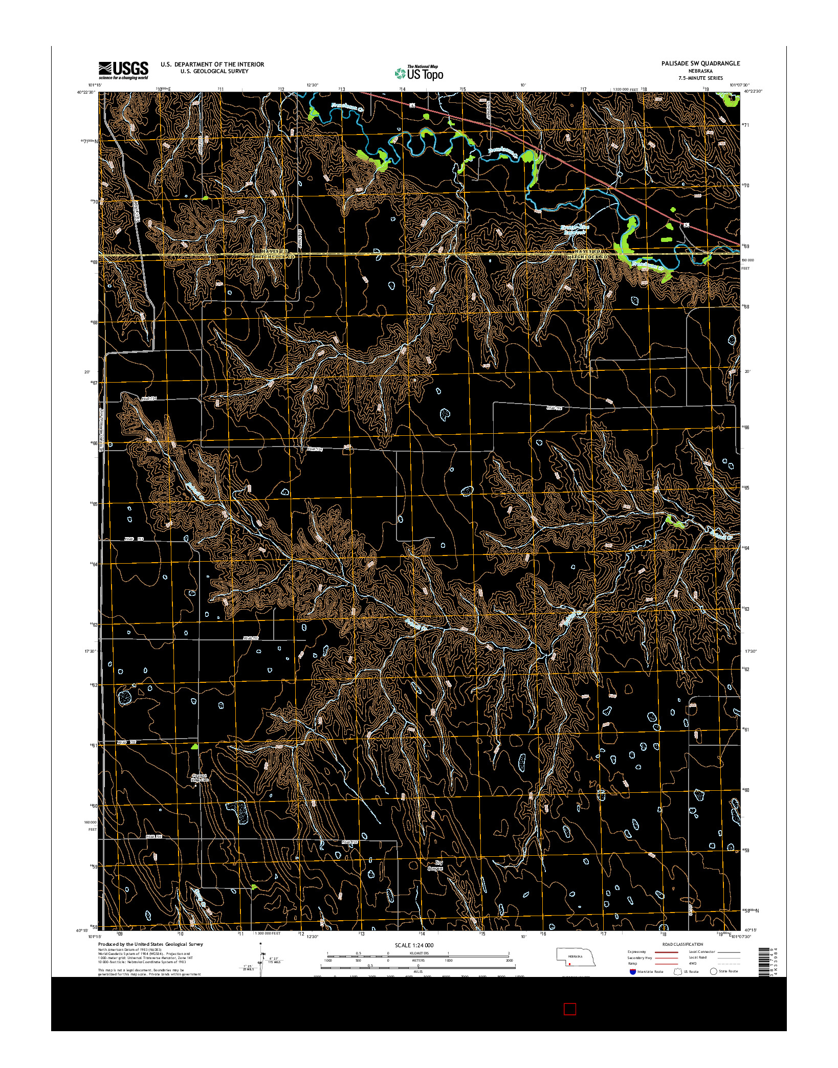 USGS US TOPO 7.5-MINUTE MAP FOR PALISADE SW, NE 2014