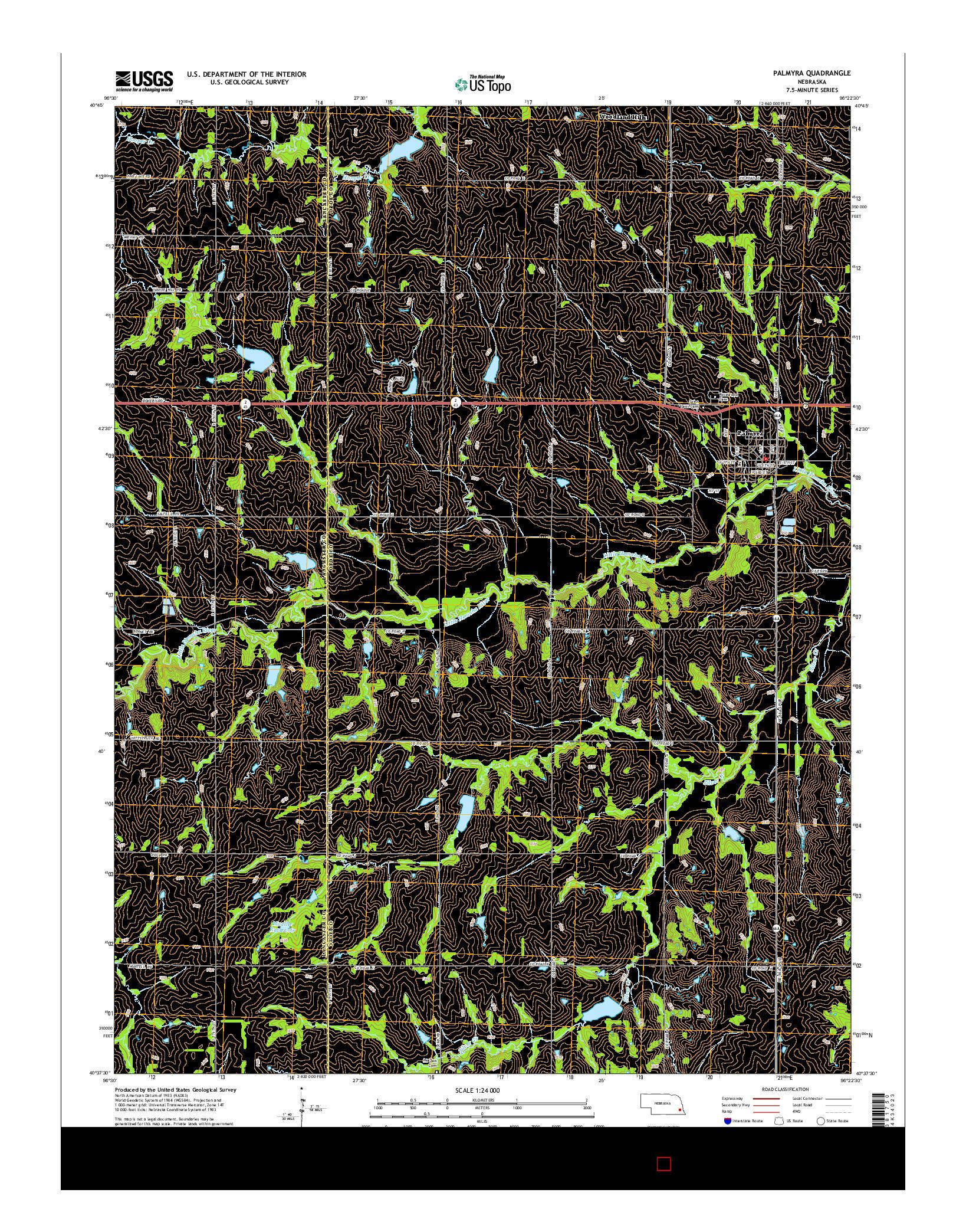 USGS US TOPO 7.5-MINUTE MAP FOR PALMYRA, NE 2014