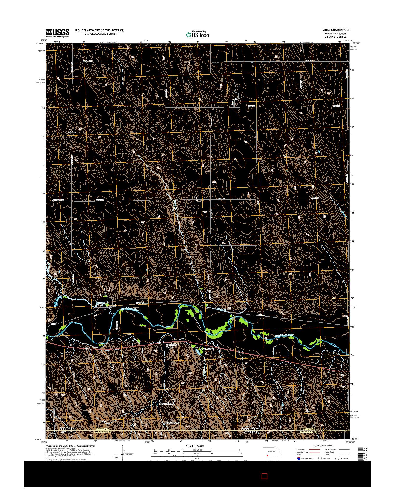 USGS US TOPO 7.5-MINUTE MAP FOR PARKS, NE-KS 2014