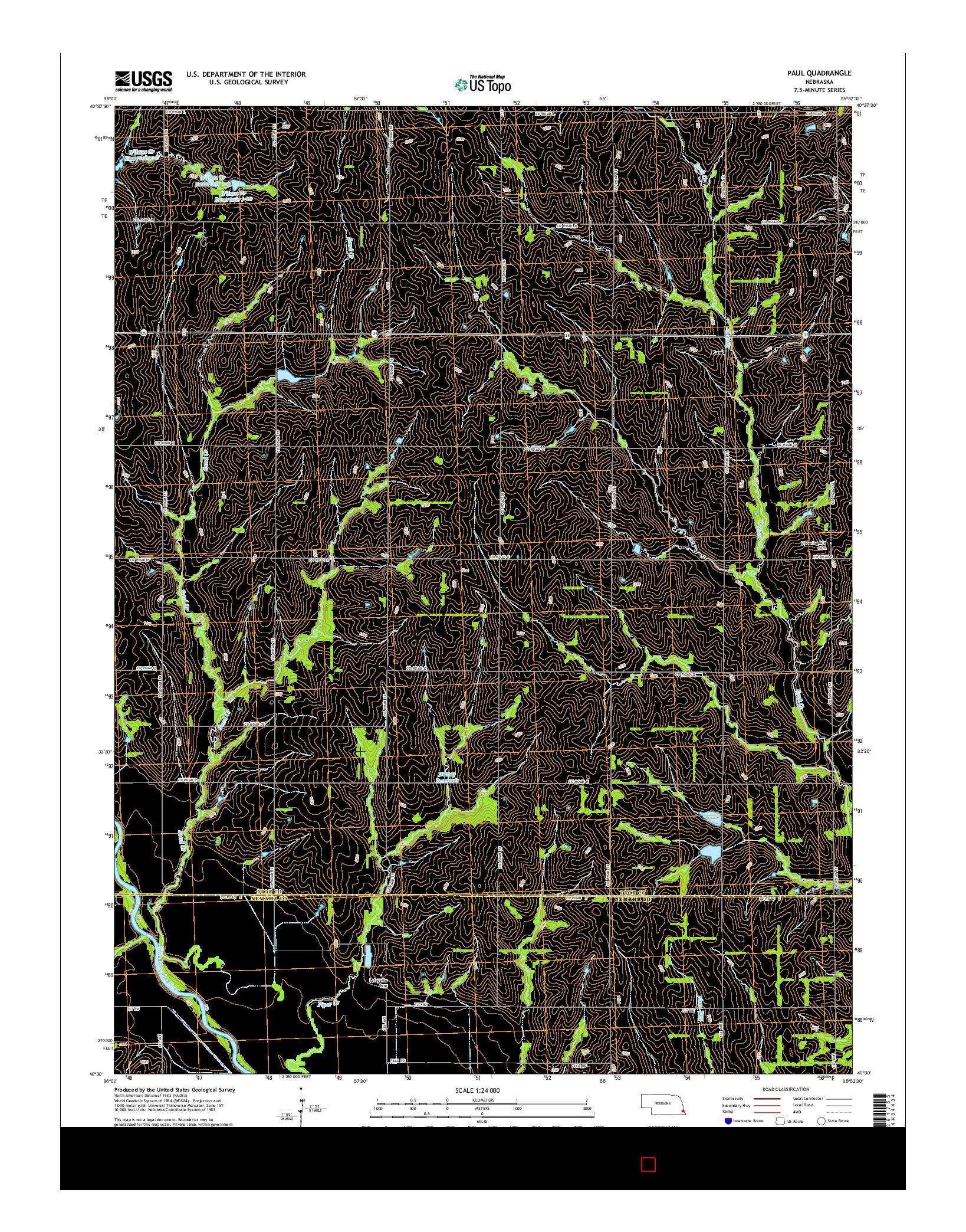 USGS US TOPO 7.5-MINUTE MAP FOR PAUL, NE 2014