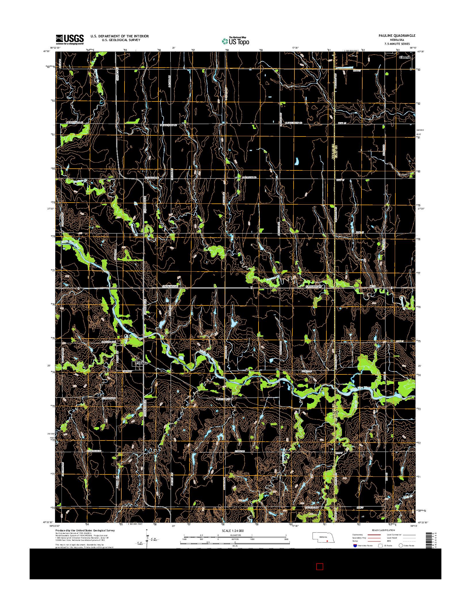 USGS US TOPO 7.5-MINUTE MAP FOR PAULINE, NE 2014