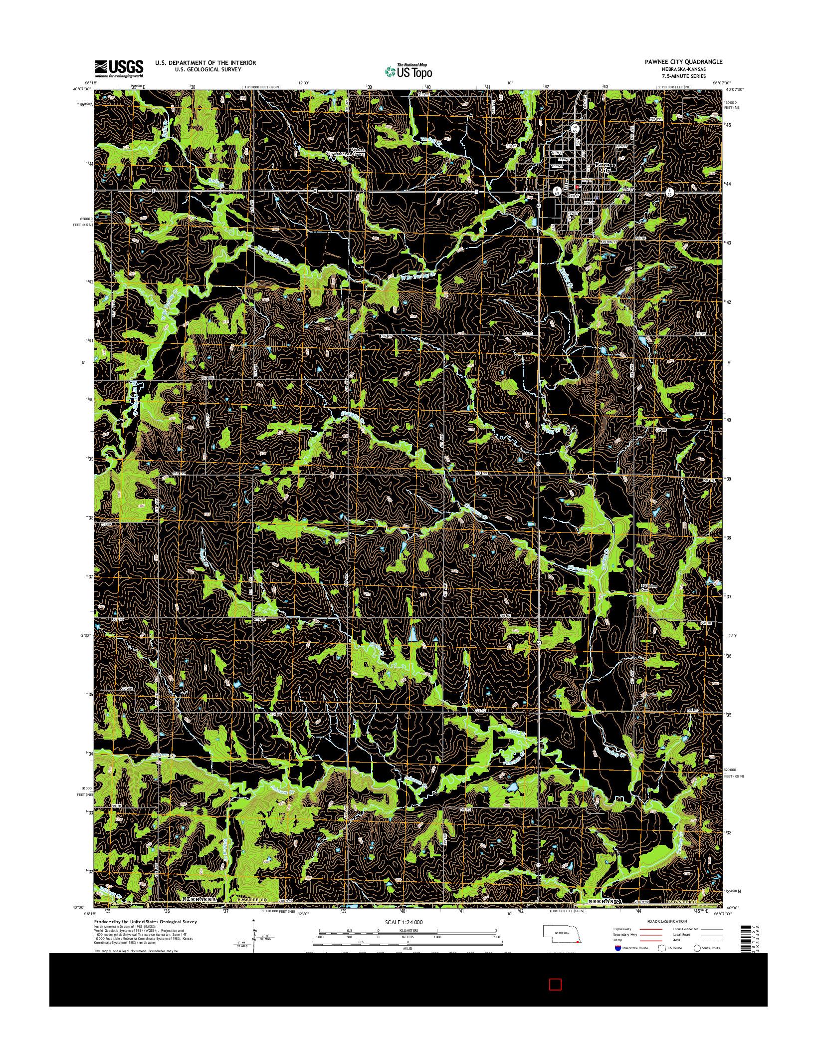 USGS US TOPO 7.5-MINUTE MAP FOR PAWNEE CITY, NE-KS 2014