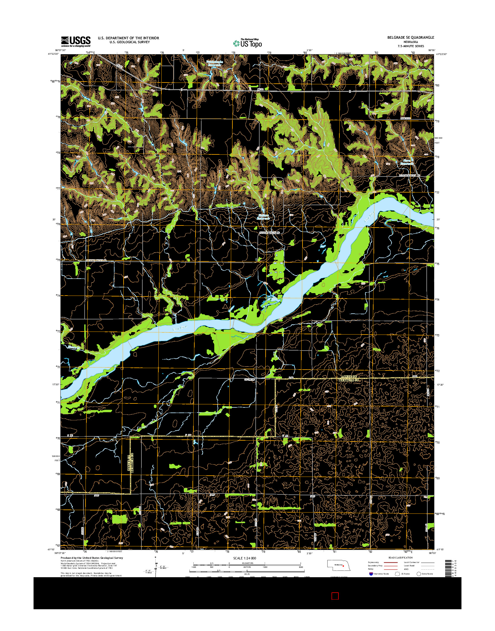 USGS US TOPO 7.5-MINUTE MAP FOR BELGRADE SE, NE 2014