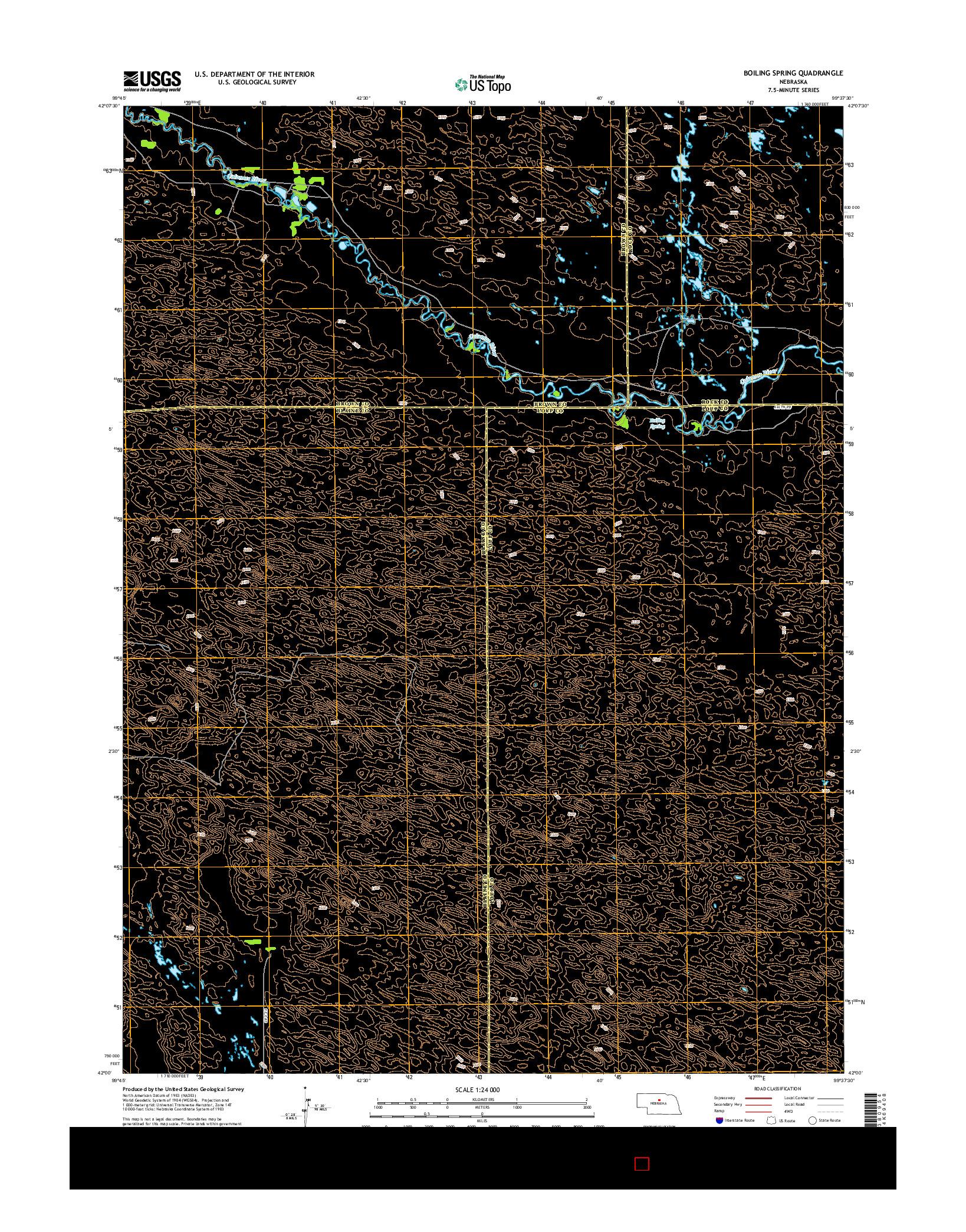 USGS US TOPO 7.5-MINUTE MAP FOR BOILING SPRING, NE 2014