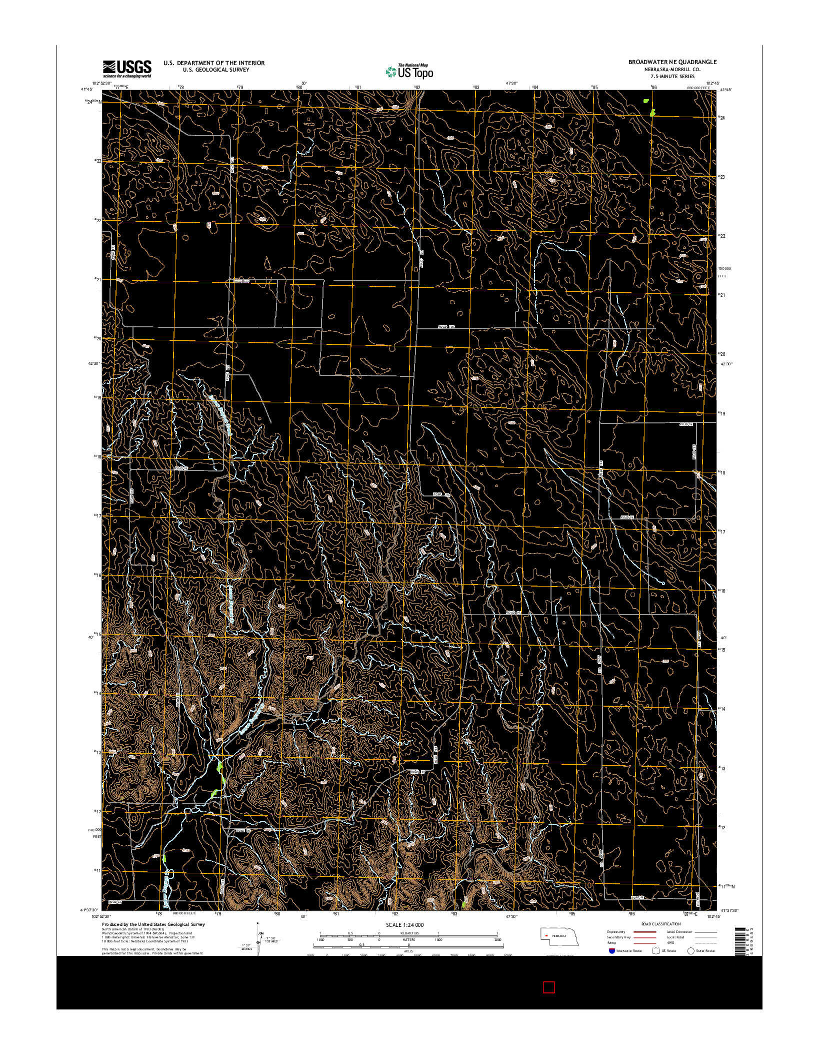 USGS US TOPO 7.5-MINUTE MAP FOR BROADWATER NE, NE 2014