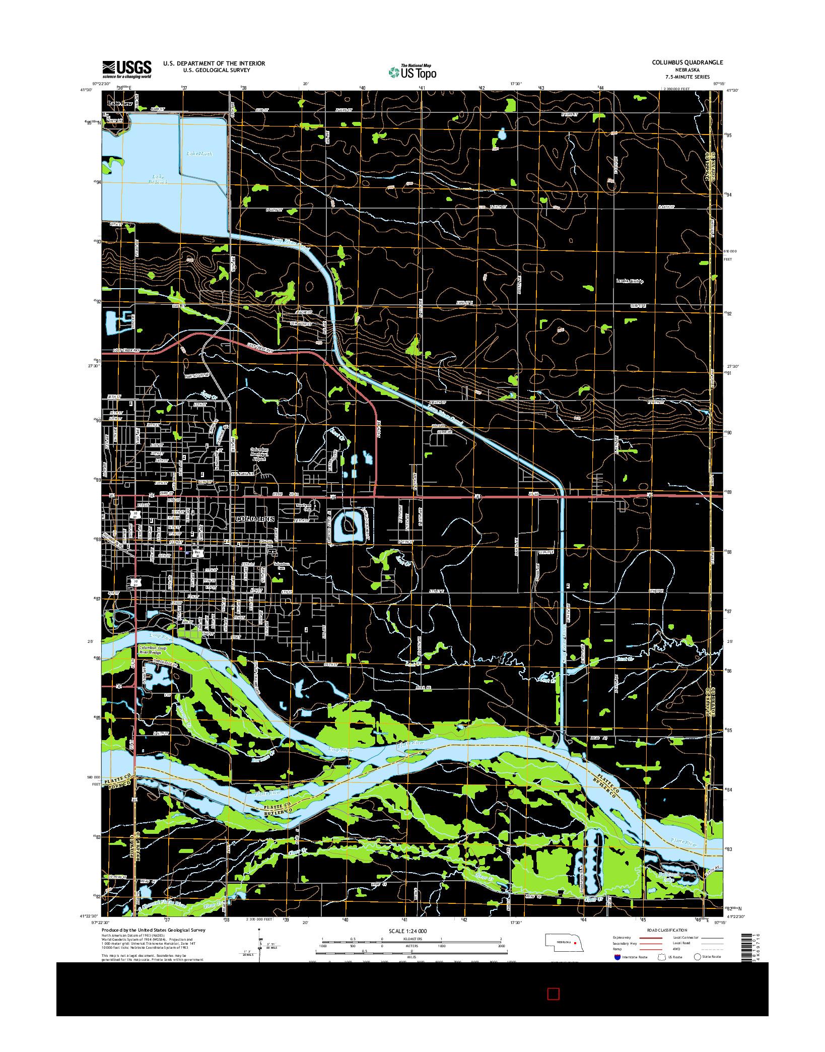 USGS US TOPO 7.5-MINUTE MAP FOR COLUMBUS, NE 2014
