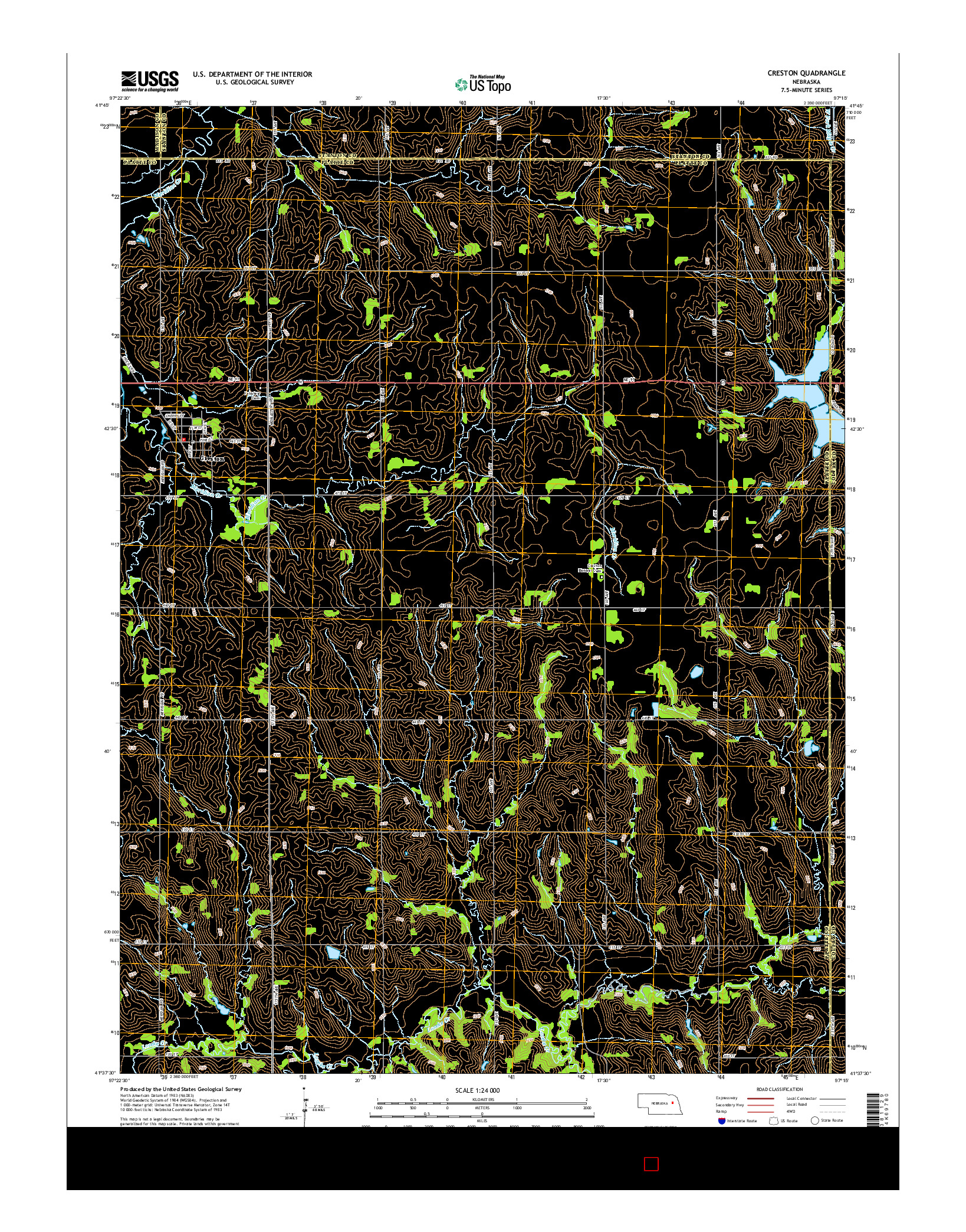 USGS US TOPO 7.5-MINUTE MAP FOR CRESTON, NE 2014