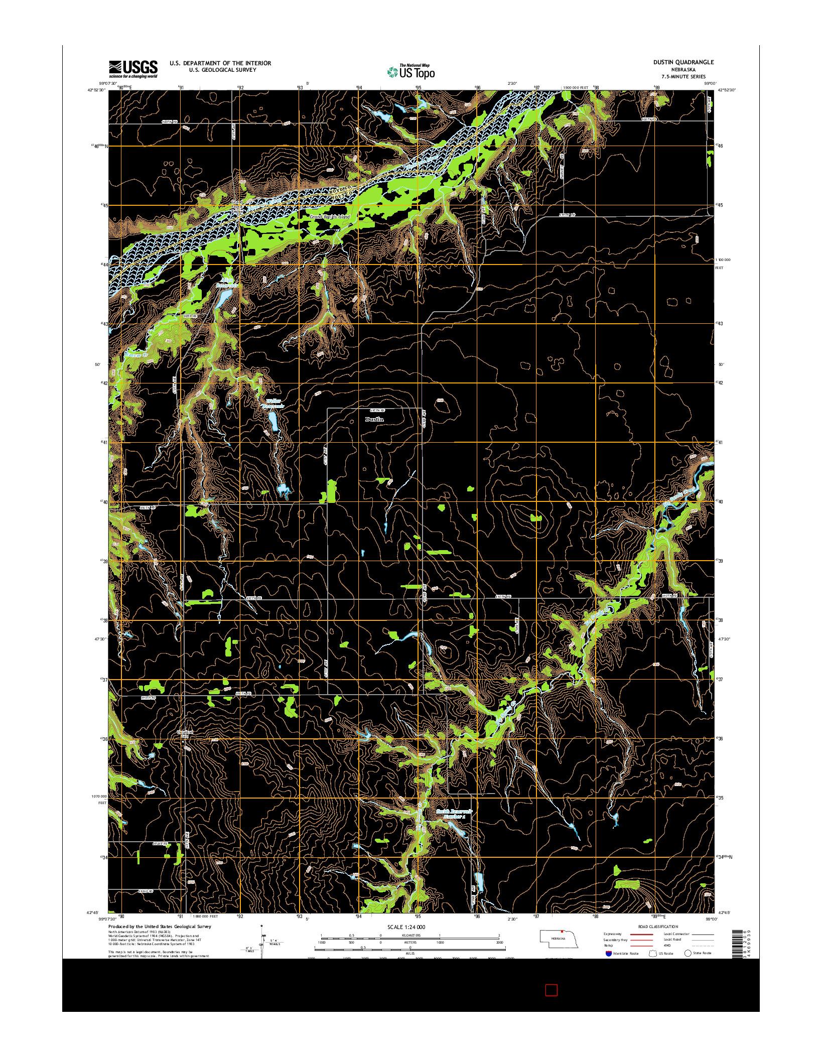 USGS US TOPO 7.5-MINUTE MAP FOR DUSTIN, NE 2014