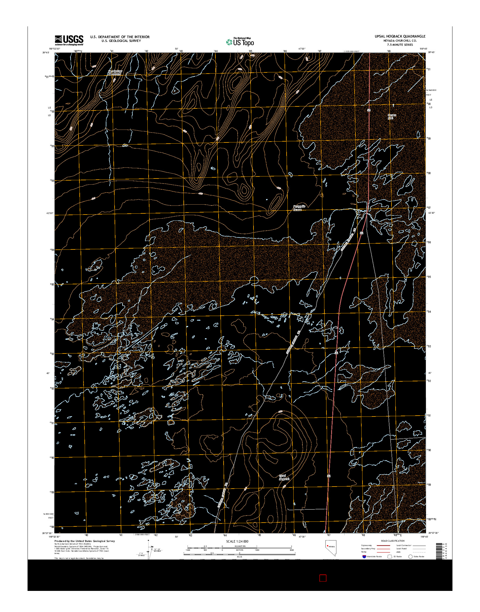USGS US TOPO 7.5-MINUTE MAP FOR UPSAL HOGBACK, NV 2014