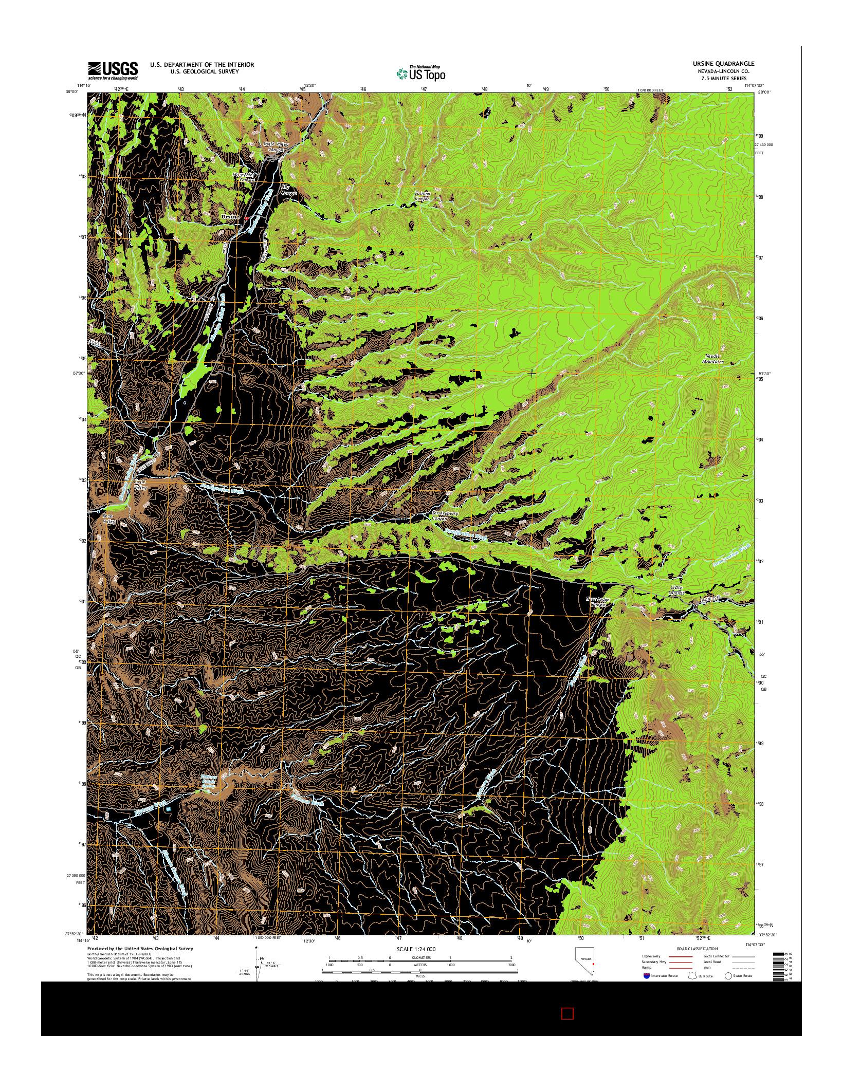 USGS US TOPO 7.5-MINUTE MAP FOR URSINE, NV 2014