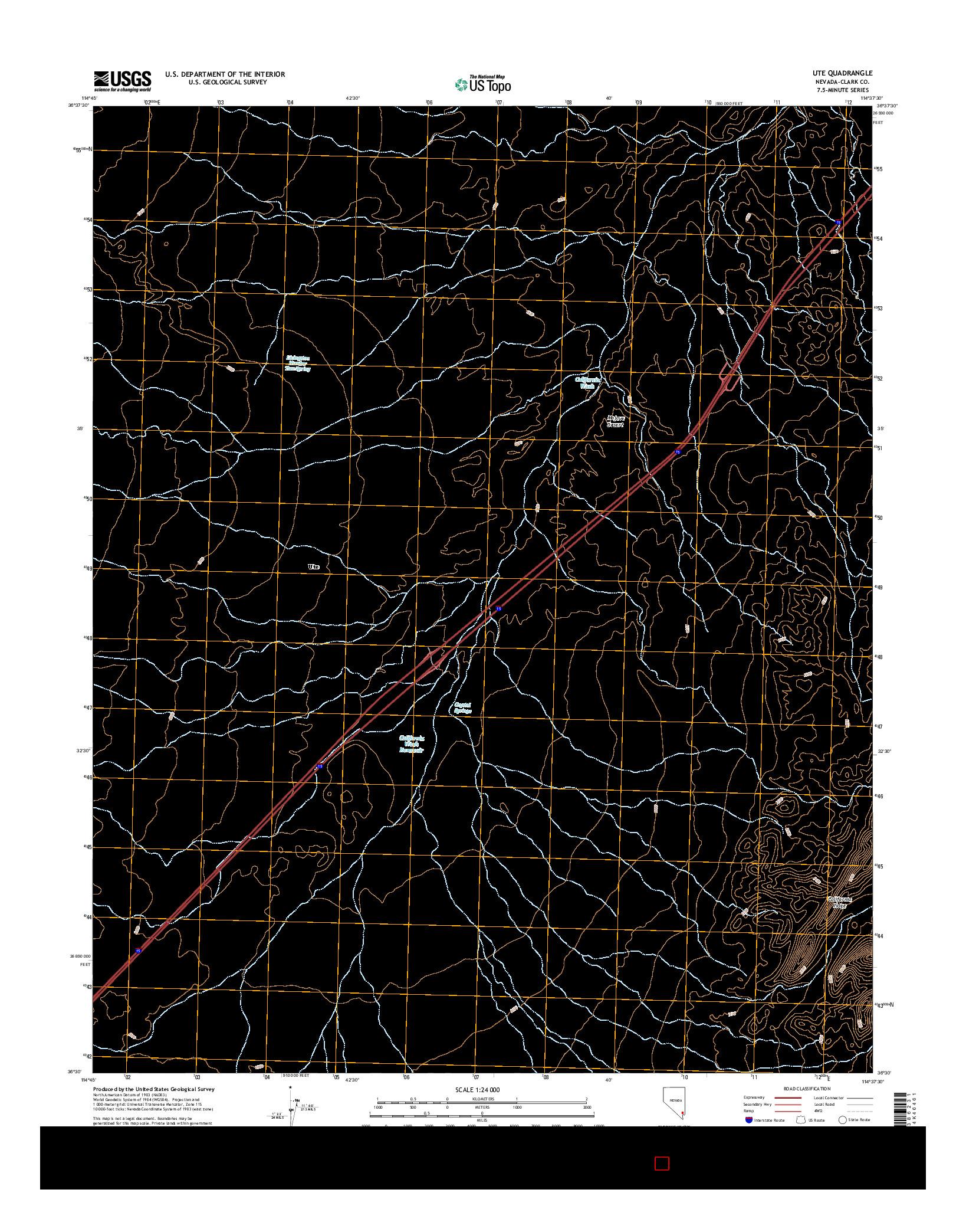 USGS US TOPO 7.5-MINUTE MAP FOR UTE, NV 2014