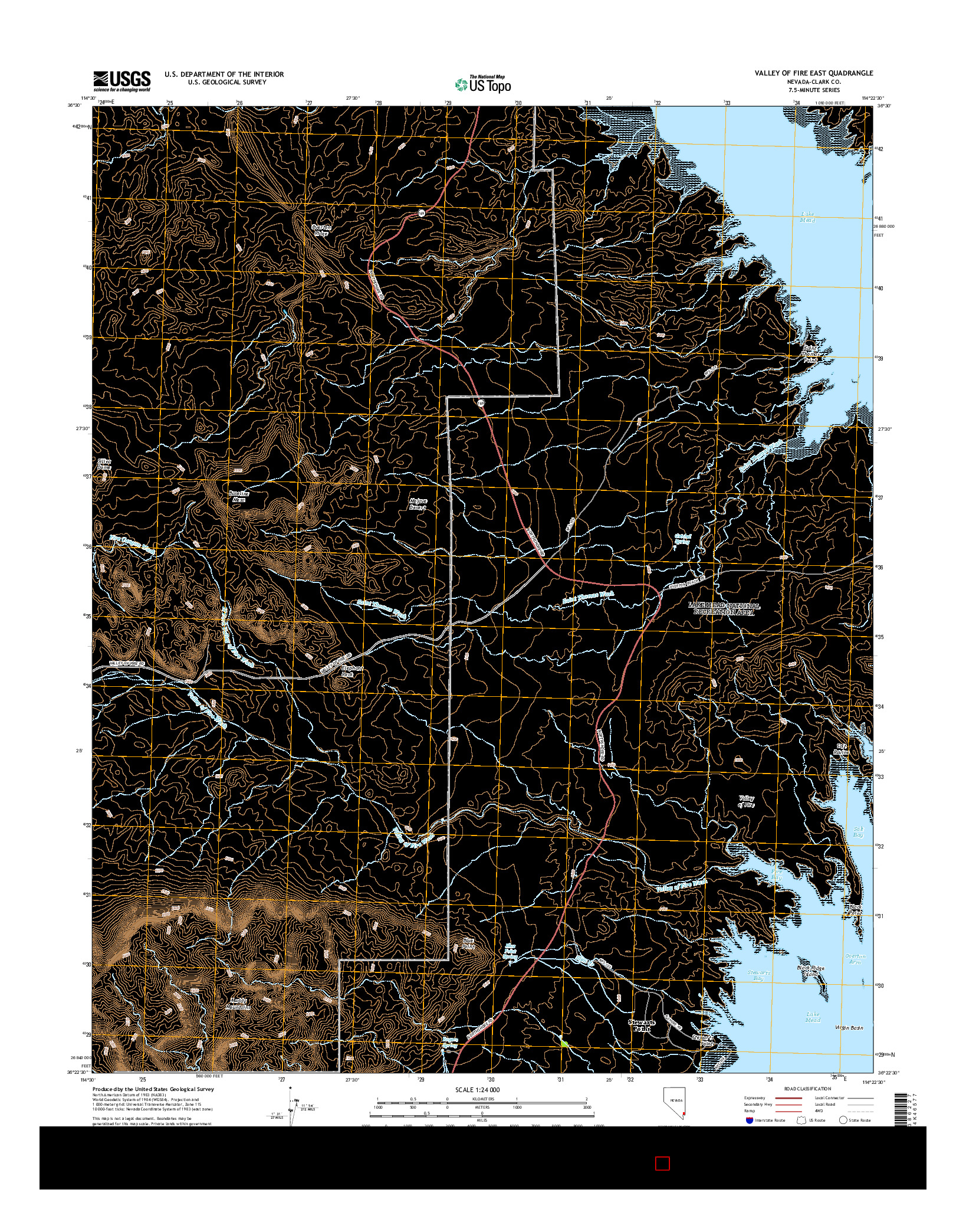 USGS US TOPO 7.5-MINUTE MAP FOR VALLEY OF FIRE EAST, NV 2014