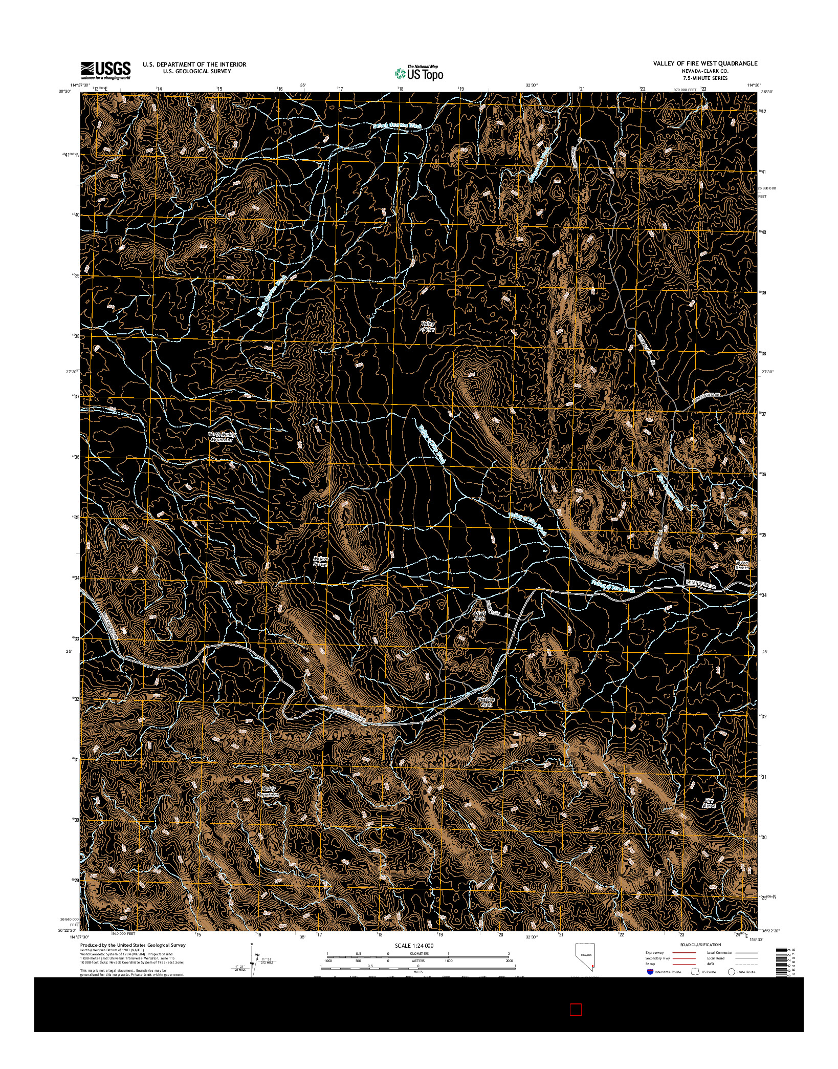 USGS US TOPO 7.5-MINUTE MAP FOR VALLEY OF FIRE WEST, NV 2014