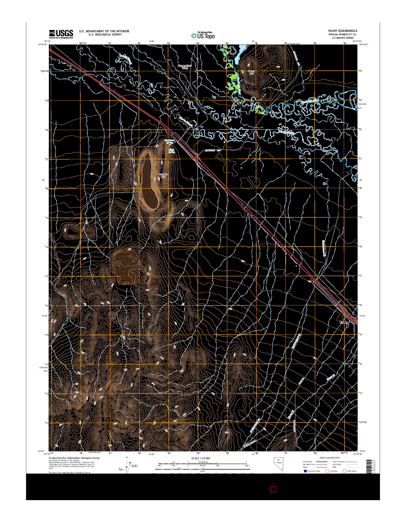 USGS US TOPO 7.5-MINUTE MAP FOR VALMY, NV 2014
