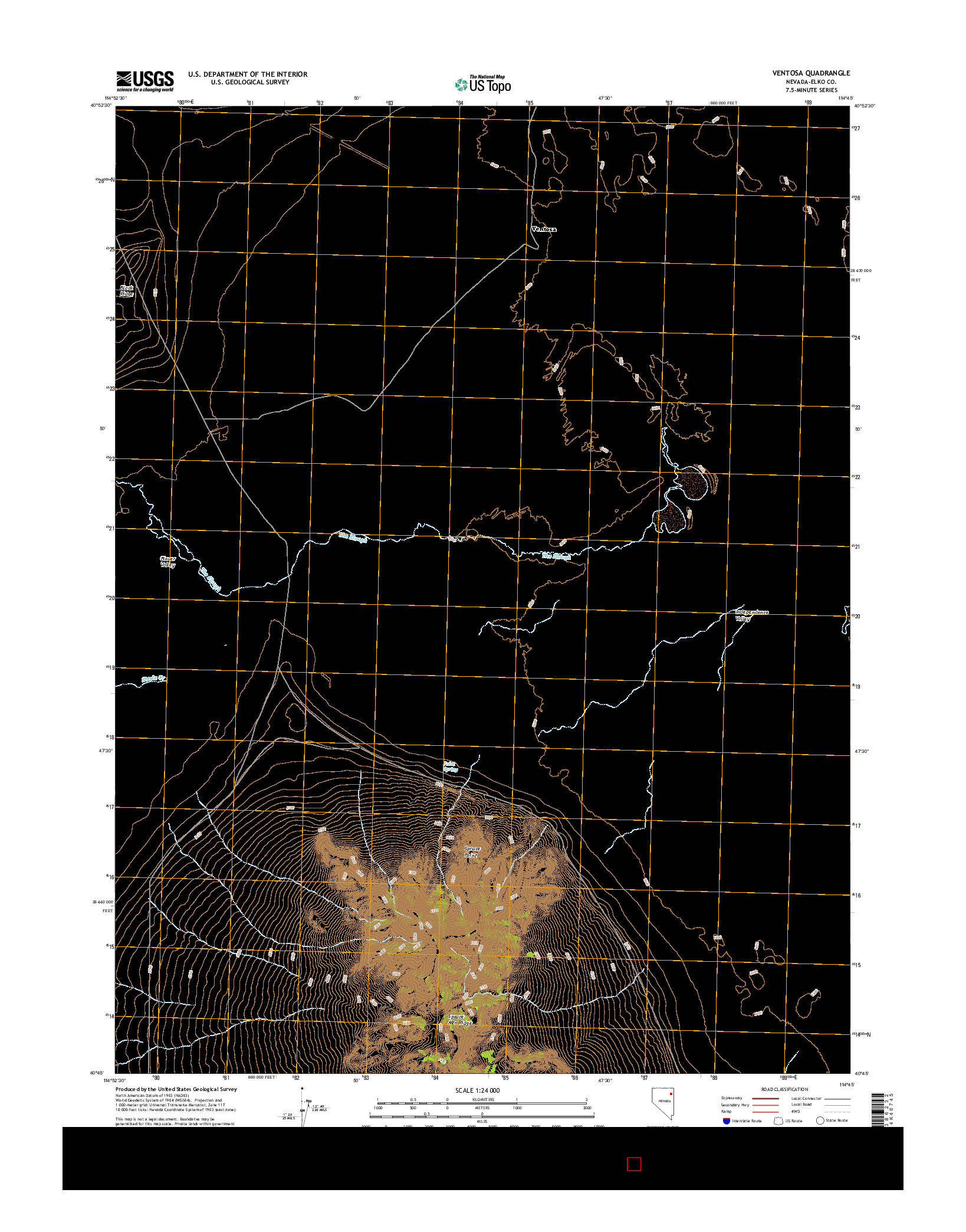 USGS US TOPO 7.5-MINUTE MAP FOR VENTOSA, NV 2014