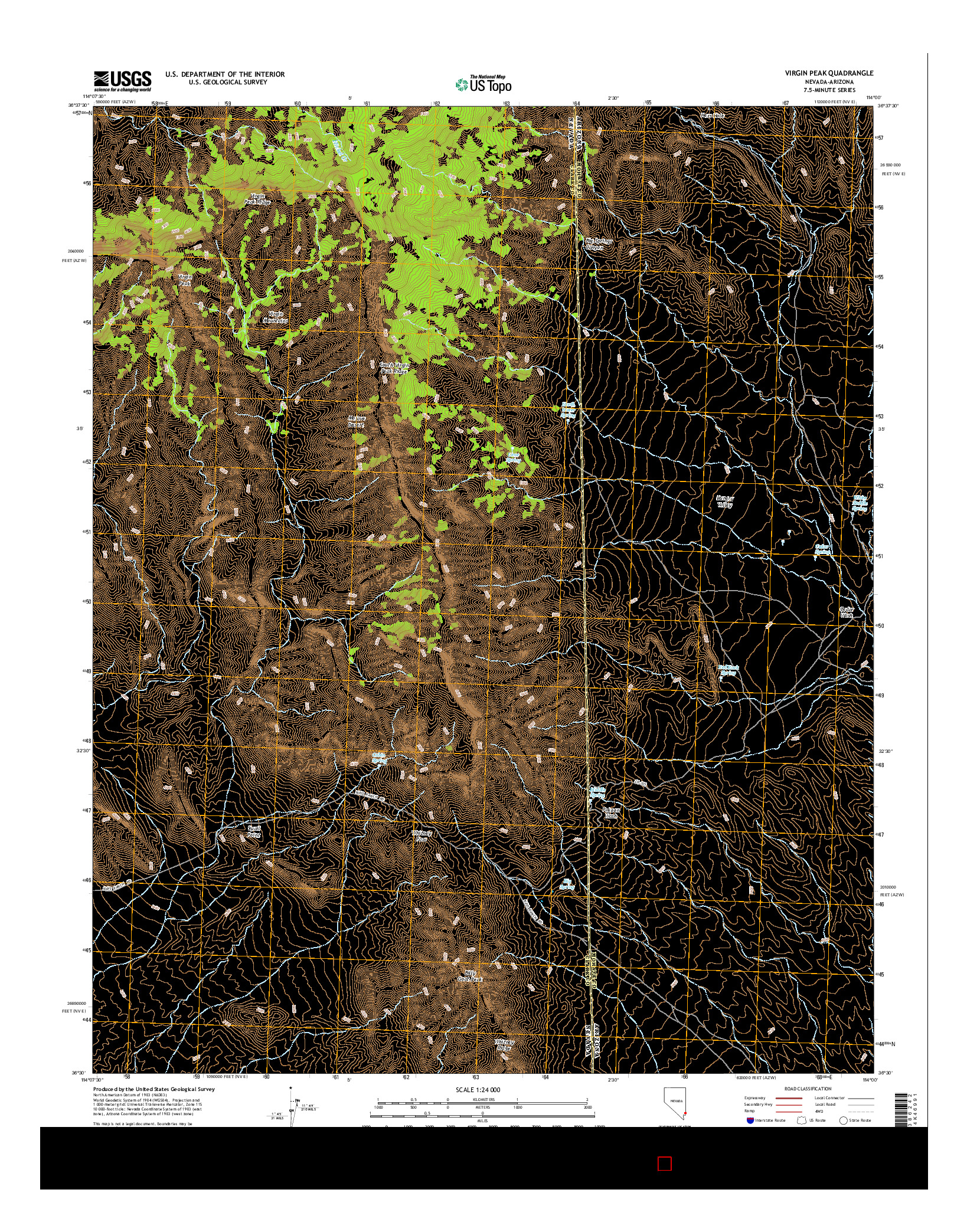 USGS US TOPO 7.5-MINUTE MAP FOR VIRGIN PEAK, NV-AZ 2014