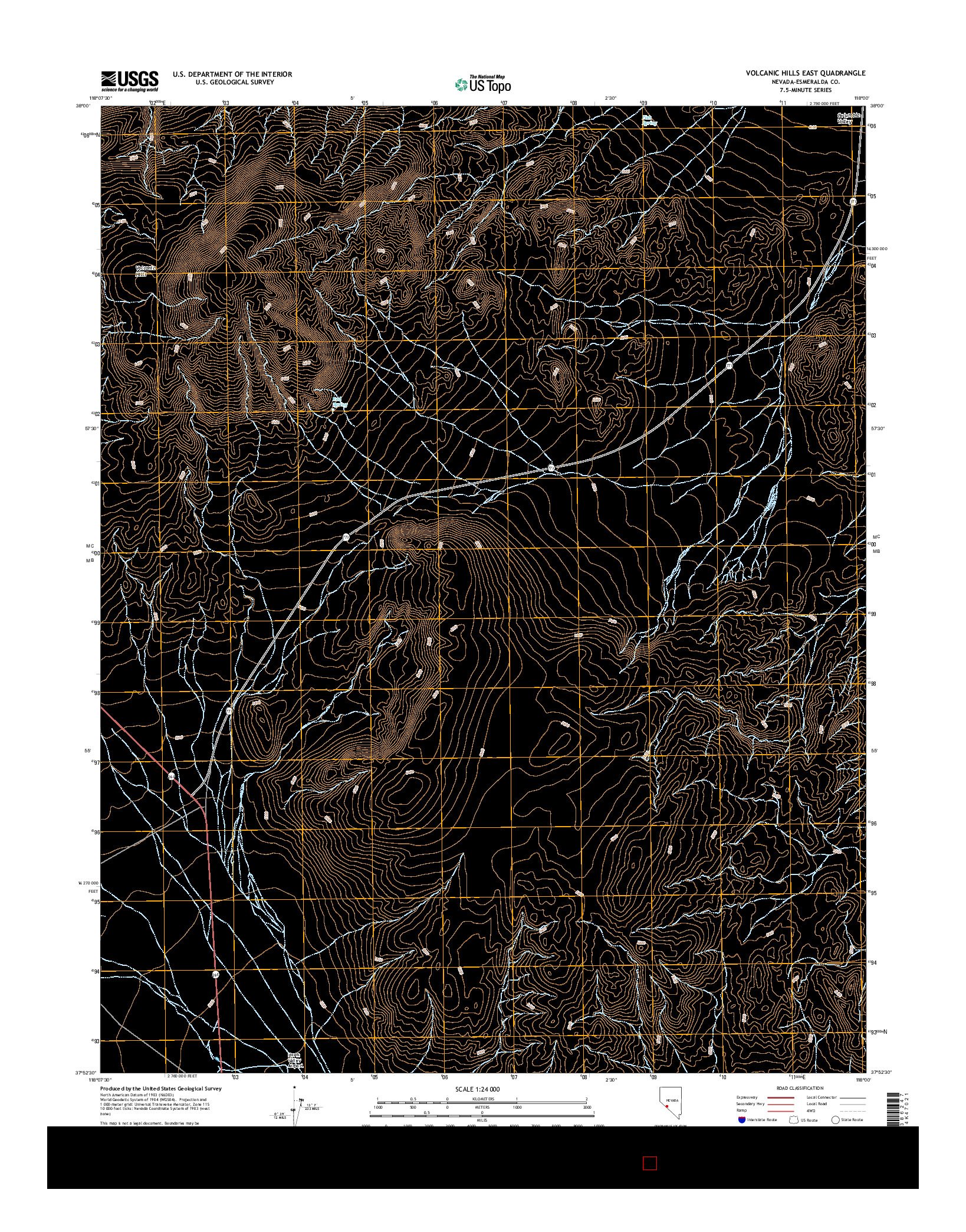 USGS US TOPO 7.5-MINUTE MAP FOR VOLCANIC HILLS EAST, NV 2014