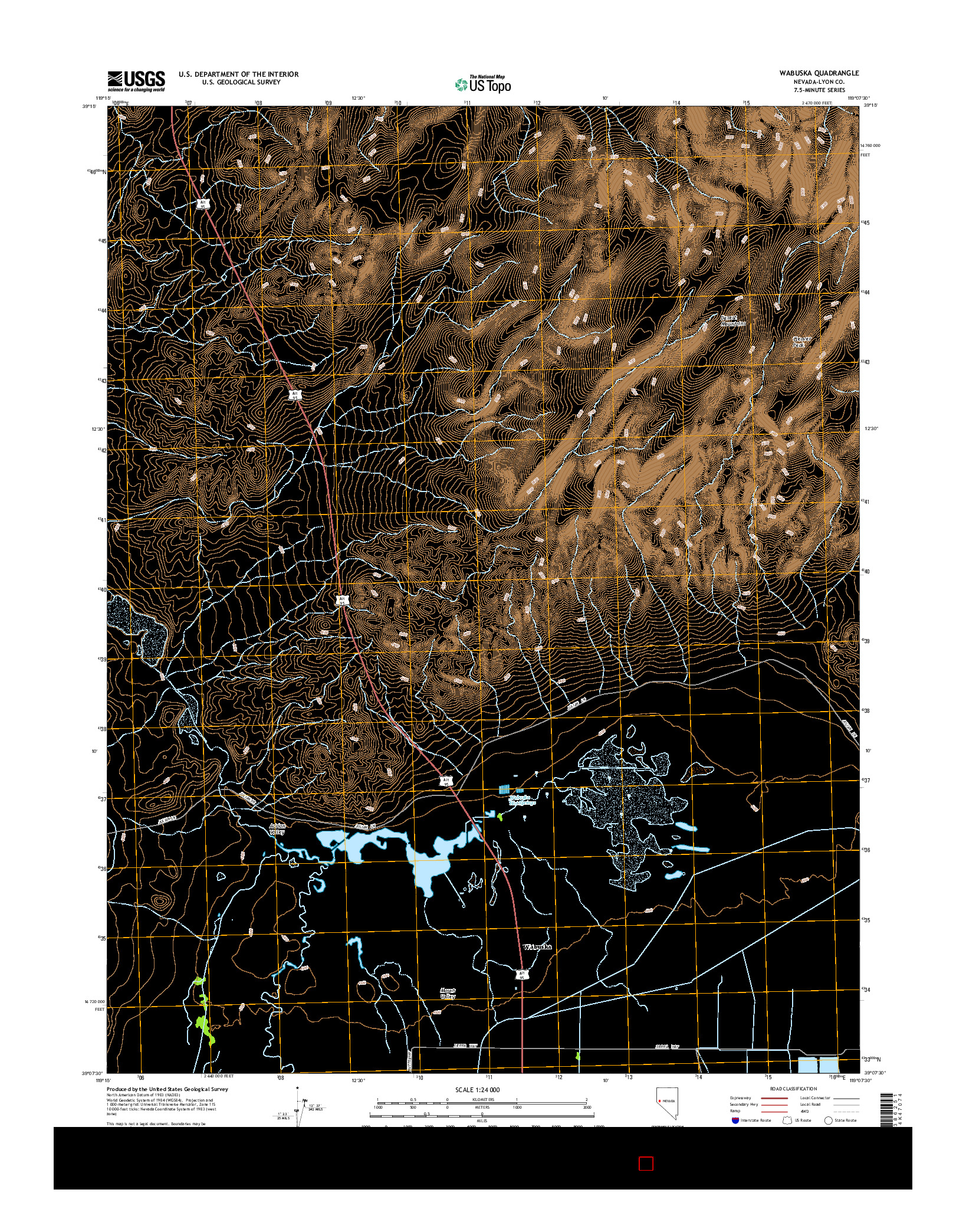 USGS US TOPO 7.5-MINUTE MAP FOR WABUSKA, NV 2014