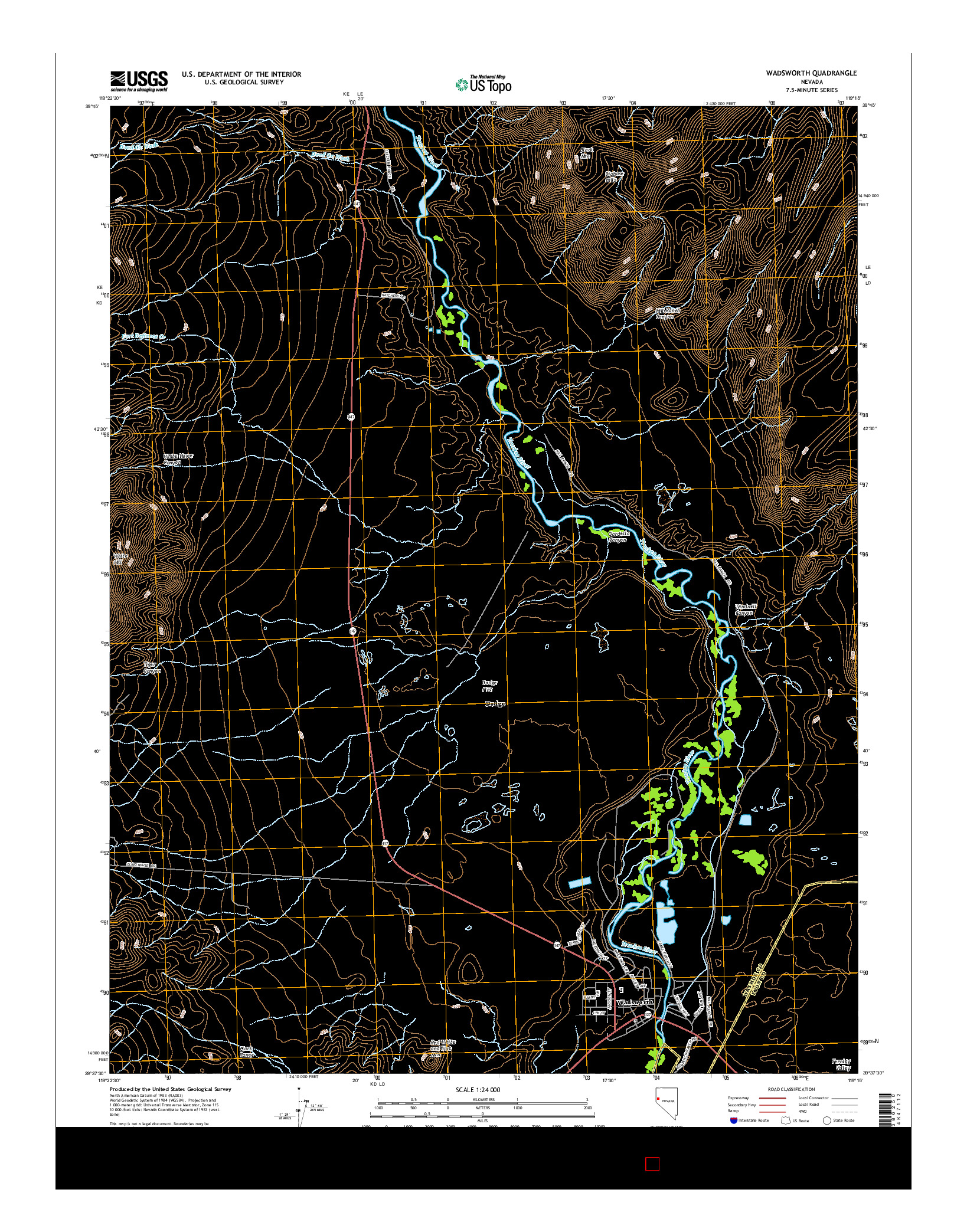 USGS US TOPO 7.5-MINUTE MAP FOR WADSWORTH, NV 2014