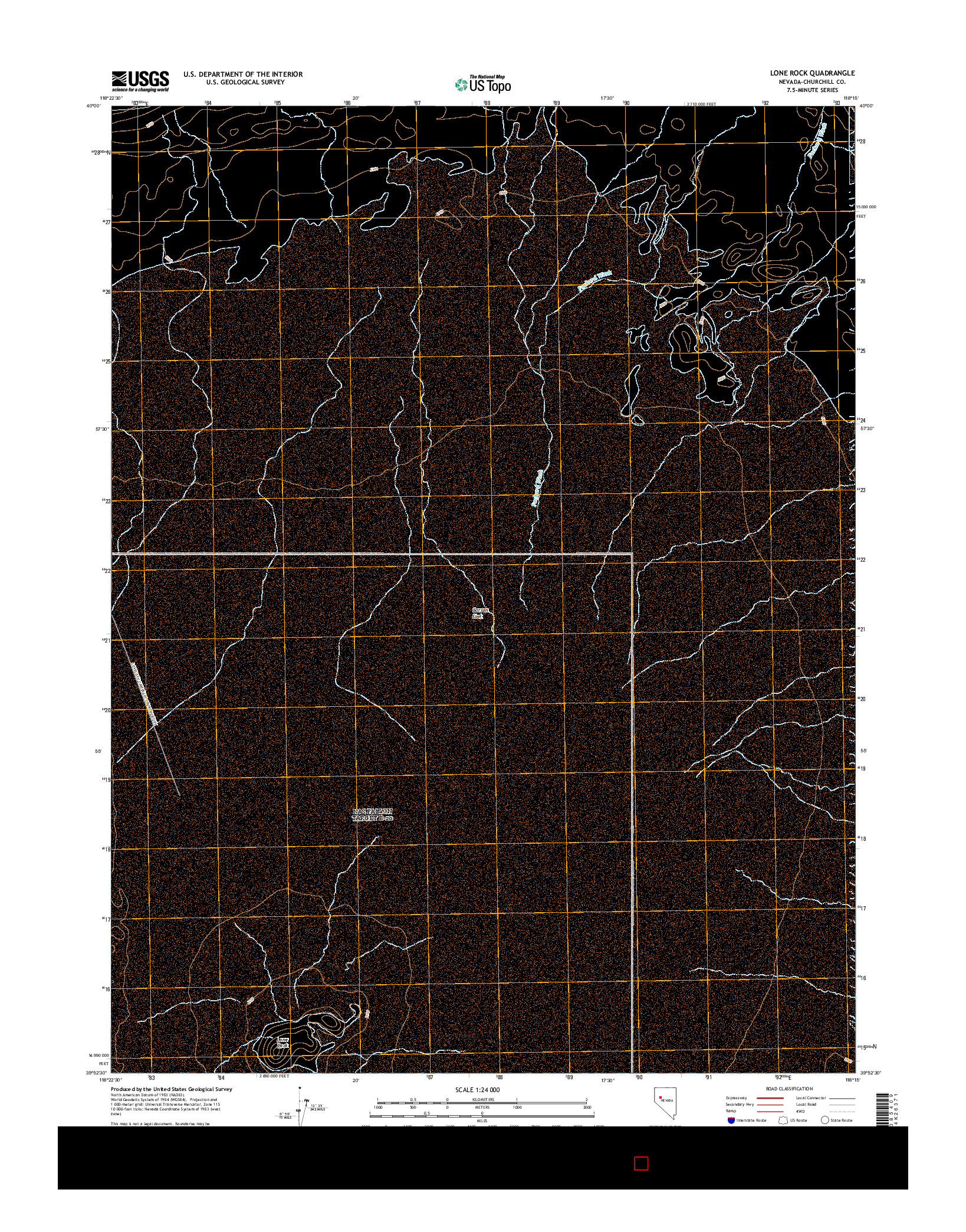 USGS US TOPO 7.5-MINUTE MAP FOR LONE ROCK, NV 2014