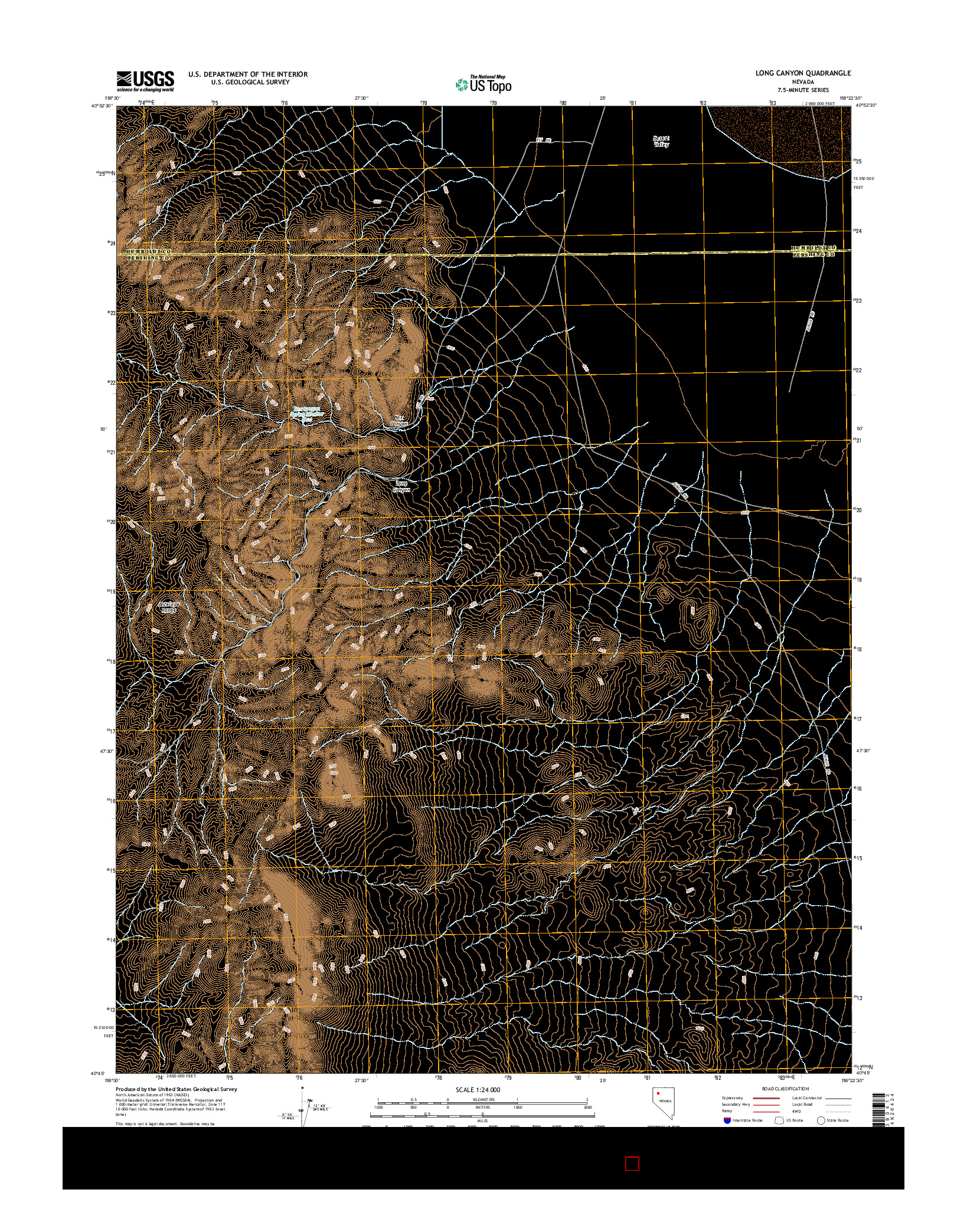 USGS US TOPO 7.5-MINUTE MAP FOR LONG CANYON, NV 2014