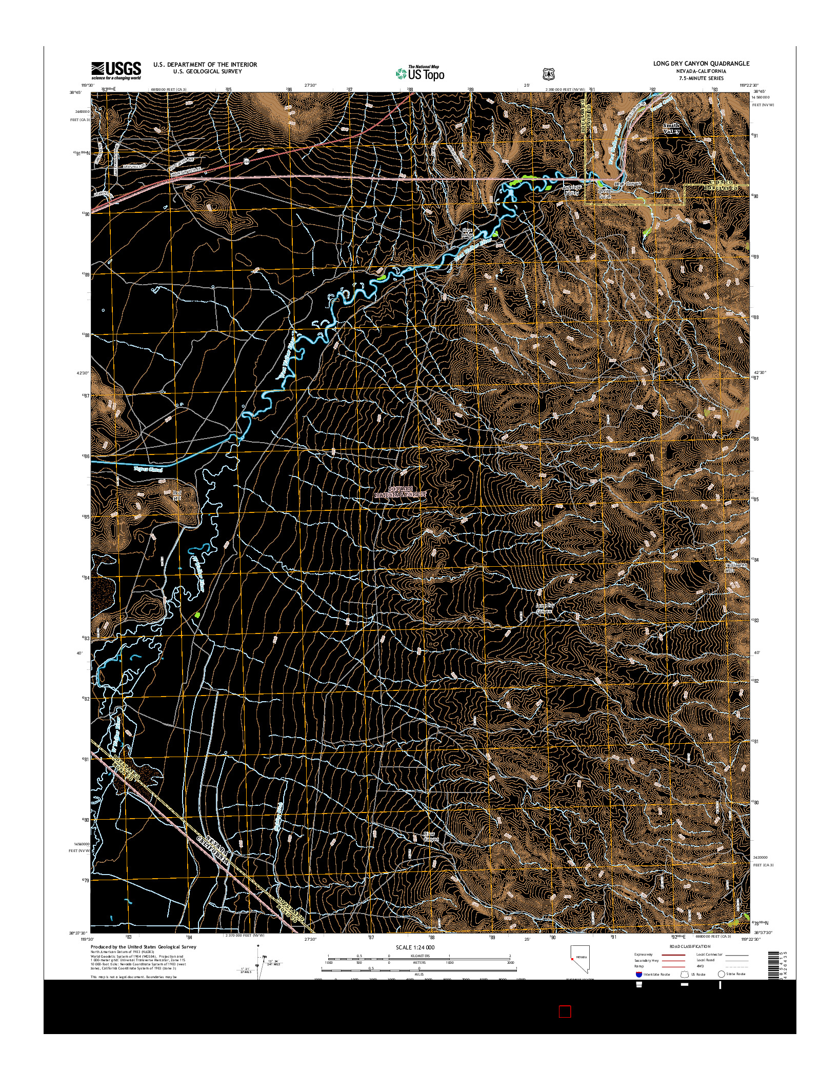 USGS US TOPO 7.5-MINUTE MAP FOR LONG DRY CANYON, NV-CA 2014