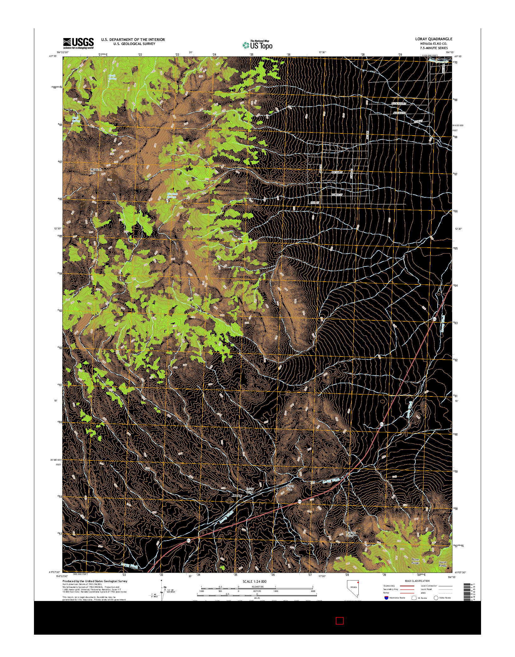 USGS US TOPO 7.5-MINUTE MAP FOR LORAY, NV 2014