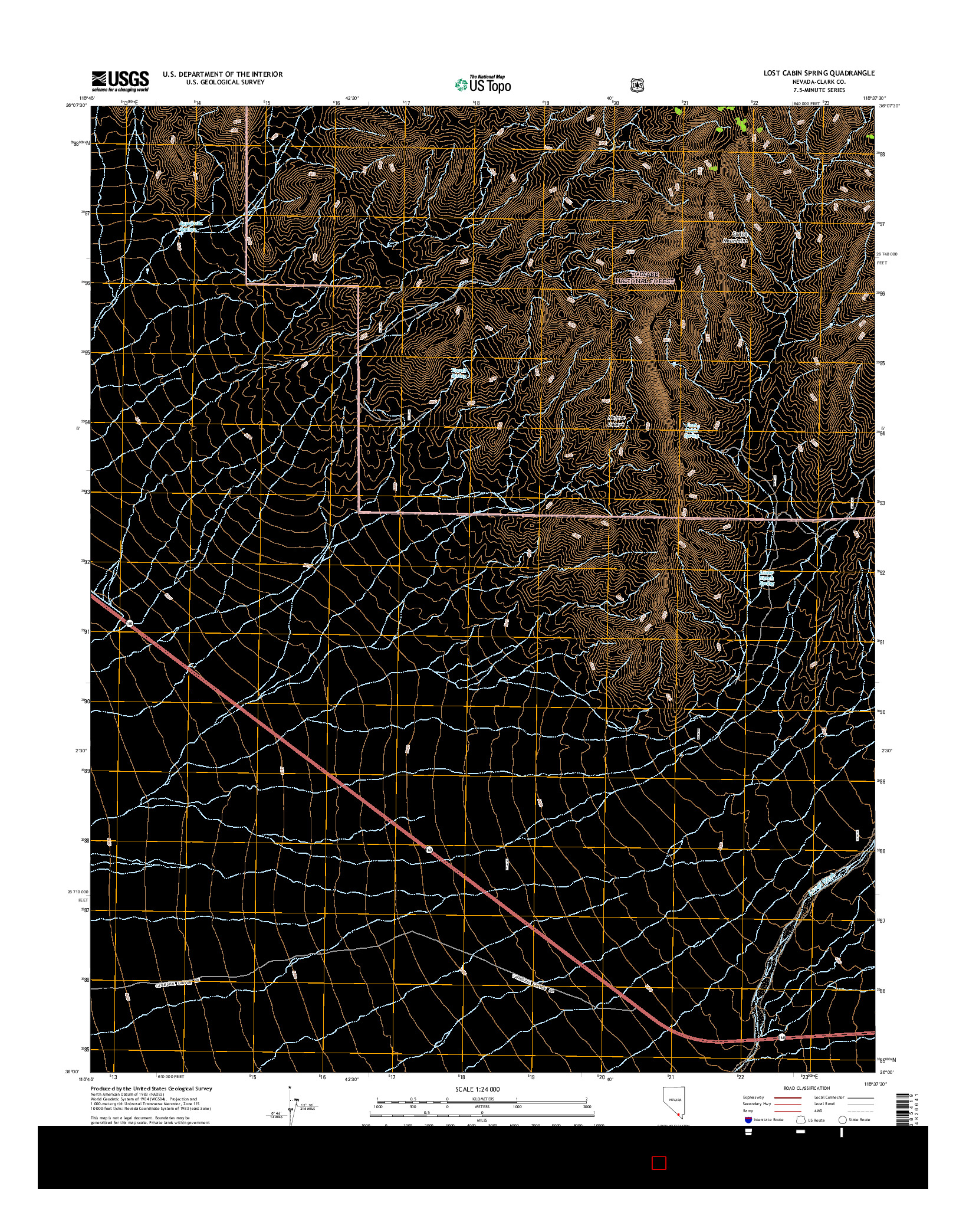 USGS US TOPO 7.5-MINUTE MAP FOR LOST CABIN SPRING, NV 2014