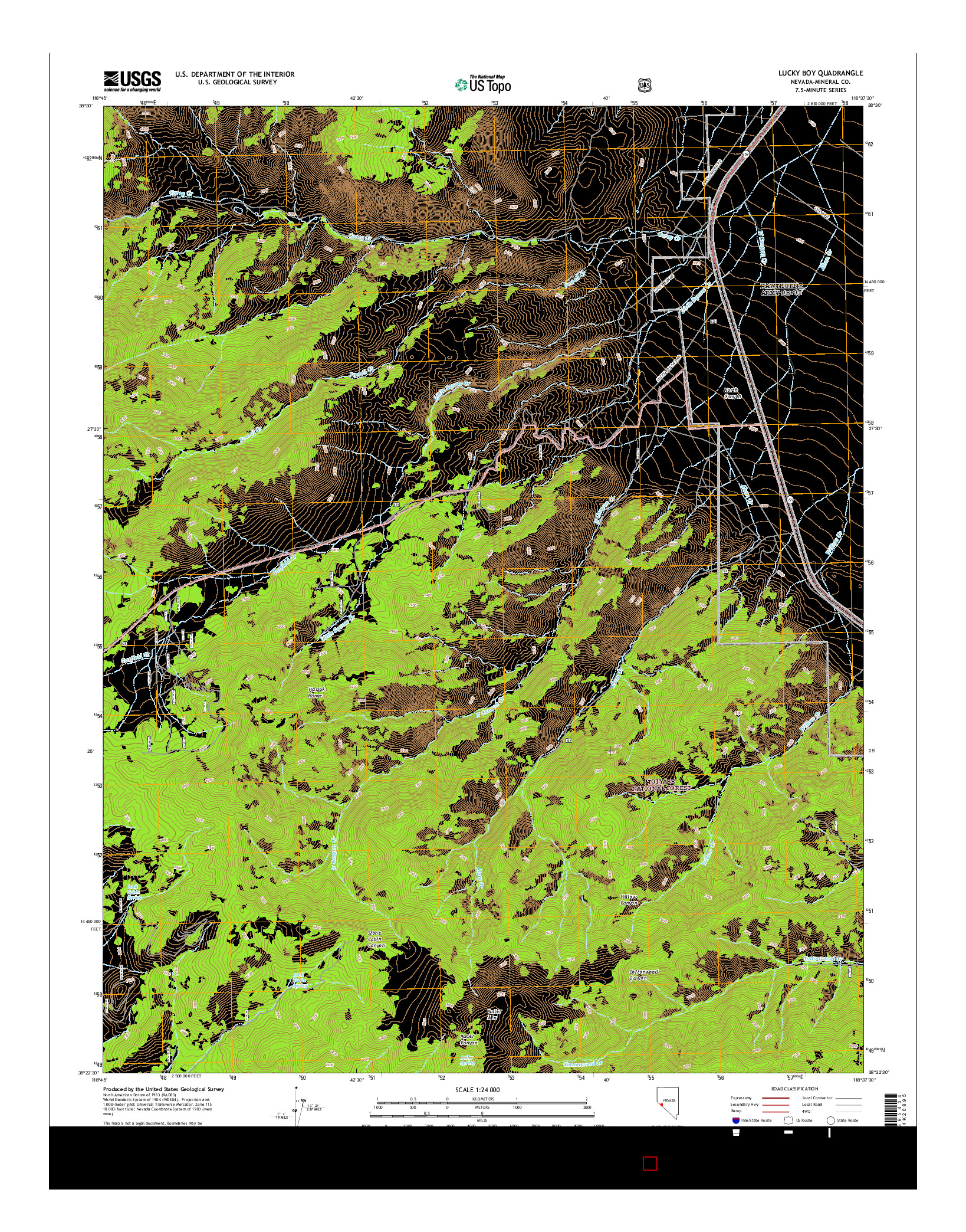 USGS US TOPO 7.5-MINUTE MAP FOR LUCKY BOY, NV 2014