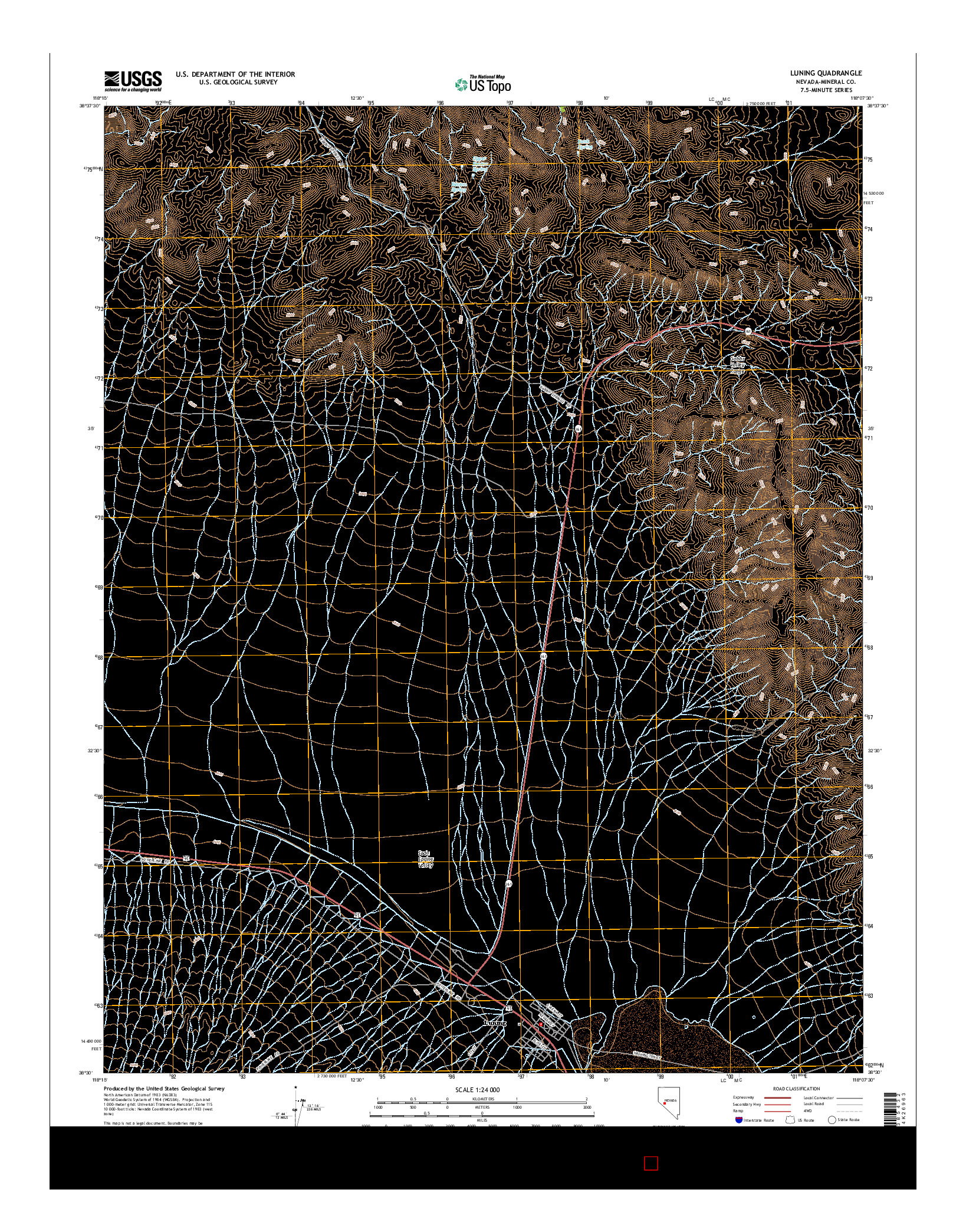 USGS US TOPO 7.5-MINUTE MAP FOR LUNING, NV 2014