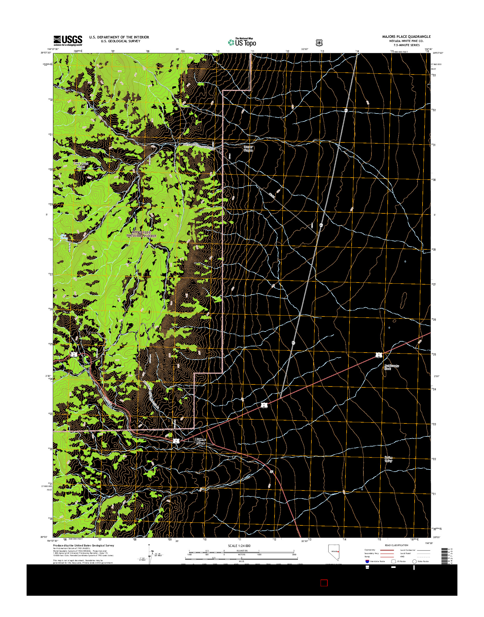 USGS US TOPO 7.5-MINUTE MAP FOR MAJORS PLACE, NV 2014