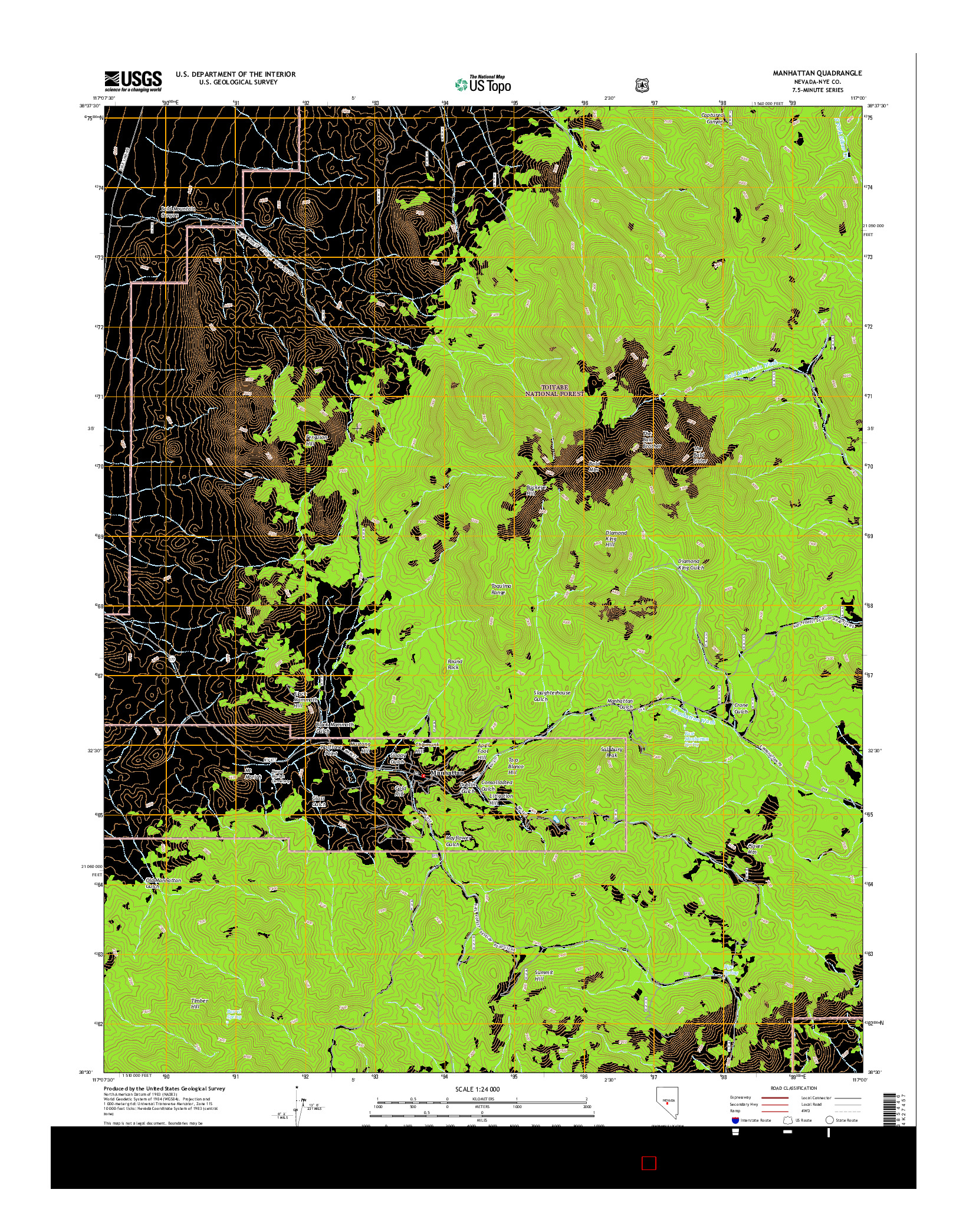 USGS US TOPO 7.5-MINUTE MAP FOR MANHATTAN, NV 2014