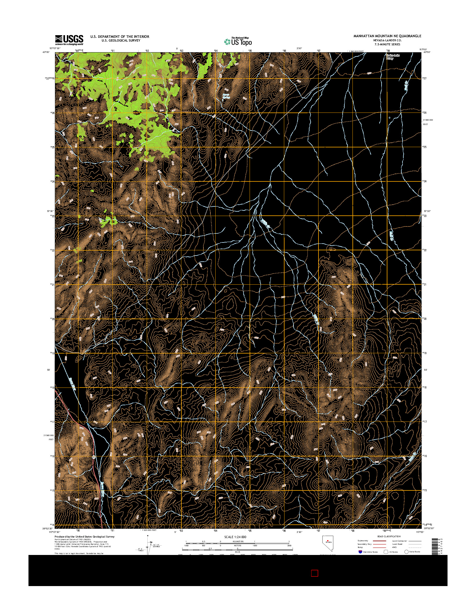 USGS US TOPO 7.5-MINUTE MAP FOR MANHATTAN MOUNTAIN NE, NV 2014
