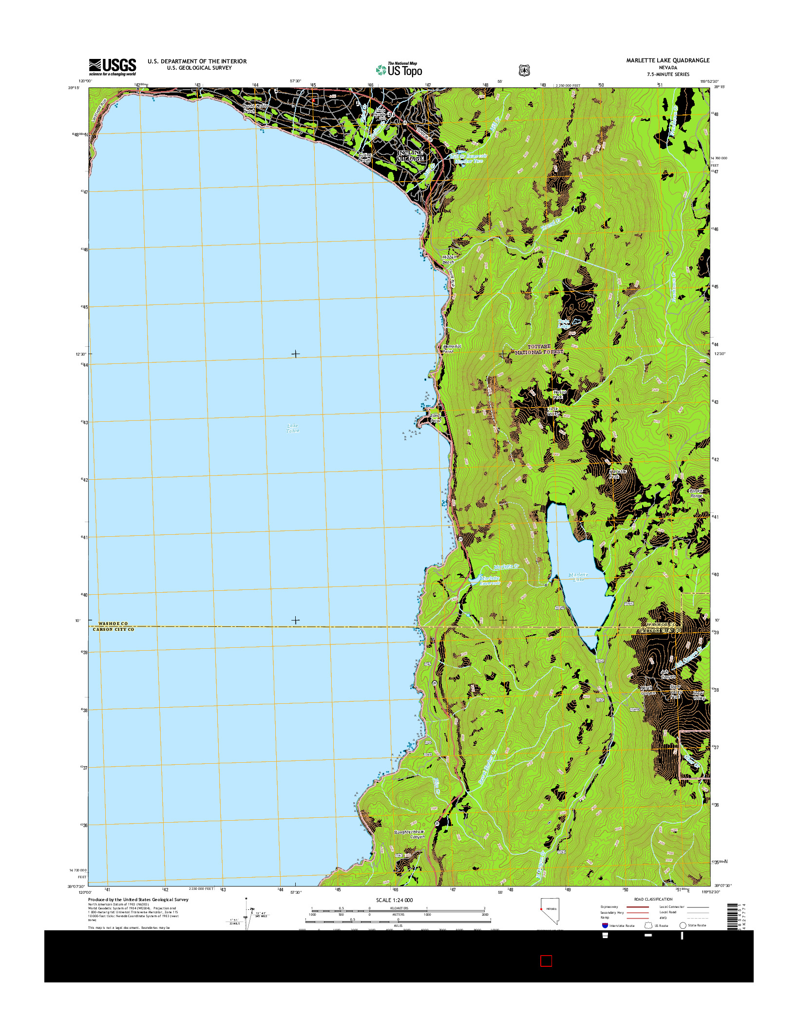 USGS US TOPO 7.5-MINUTE MAP FOR MARLETTE LAKE, NV 2014