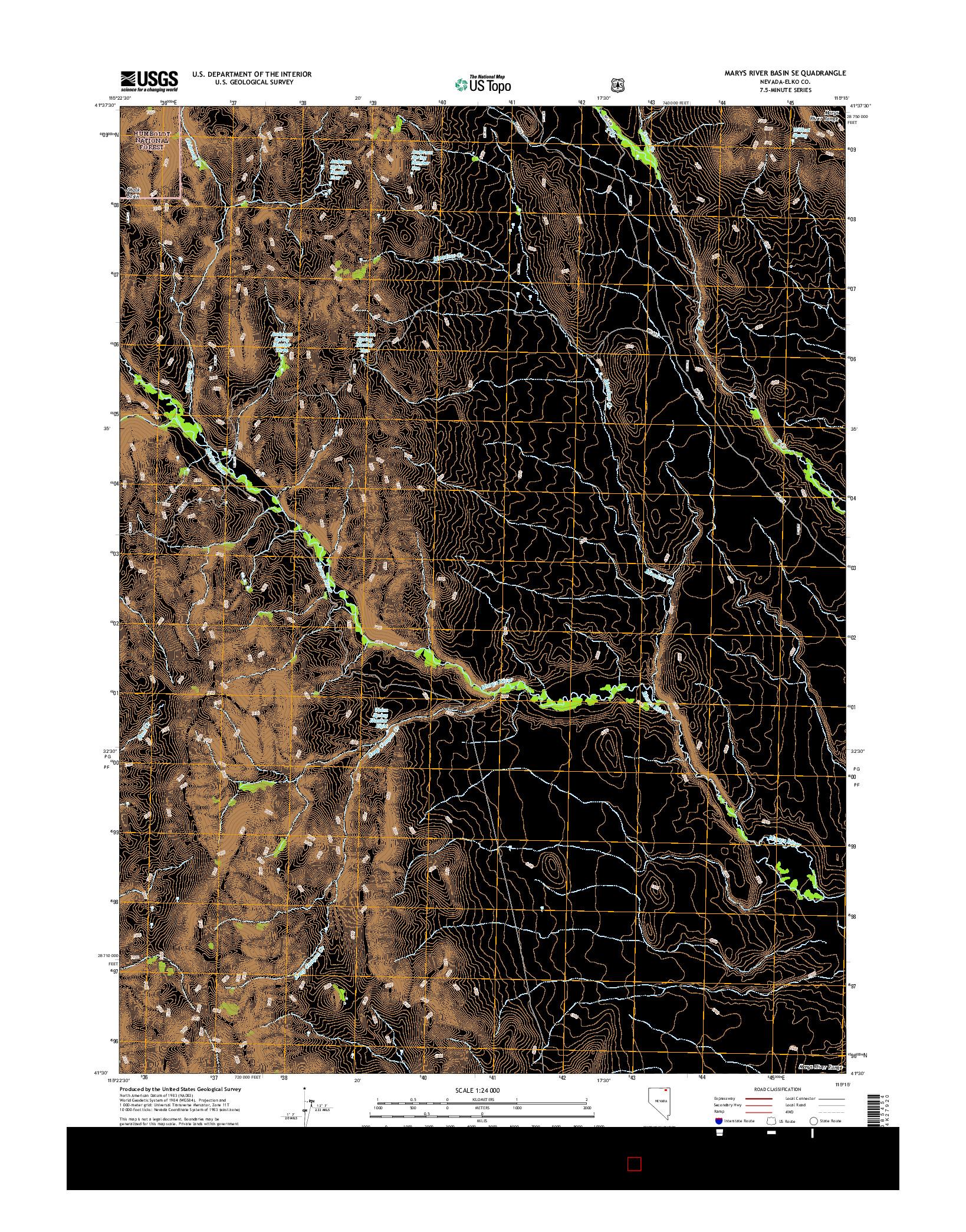 USGS US TOPO 7.5-MINUTE MAP FOR MARYS RIVER BASIN SE, NV 2014
