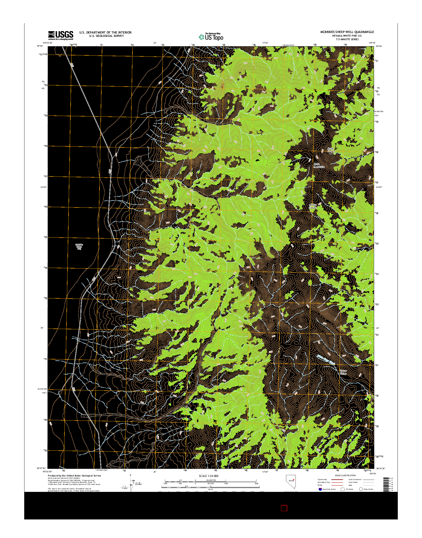 USGS US TOPO 7.5-MINUTE MAP FOR MCBRIDES SHEEP WELL, NV 2014
