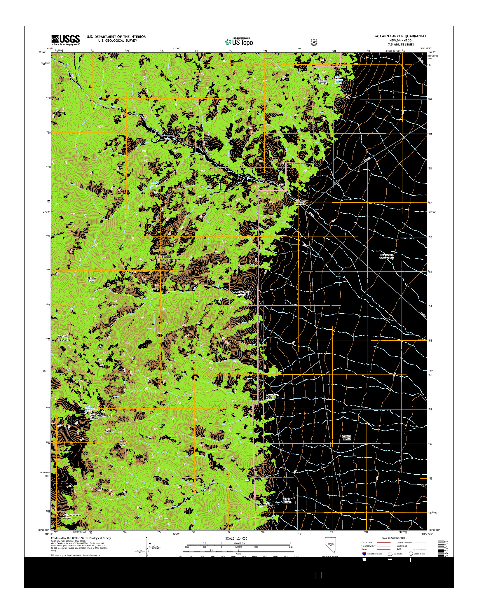 USGS US TOPO 7.5-MINUTE MAP FOR MCCANN CANYON, NV 2014