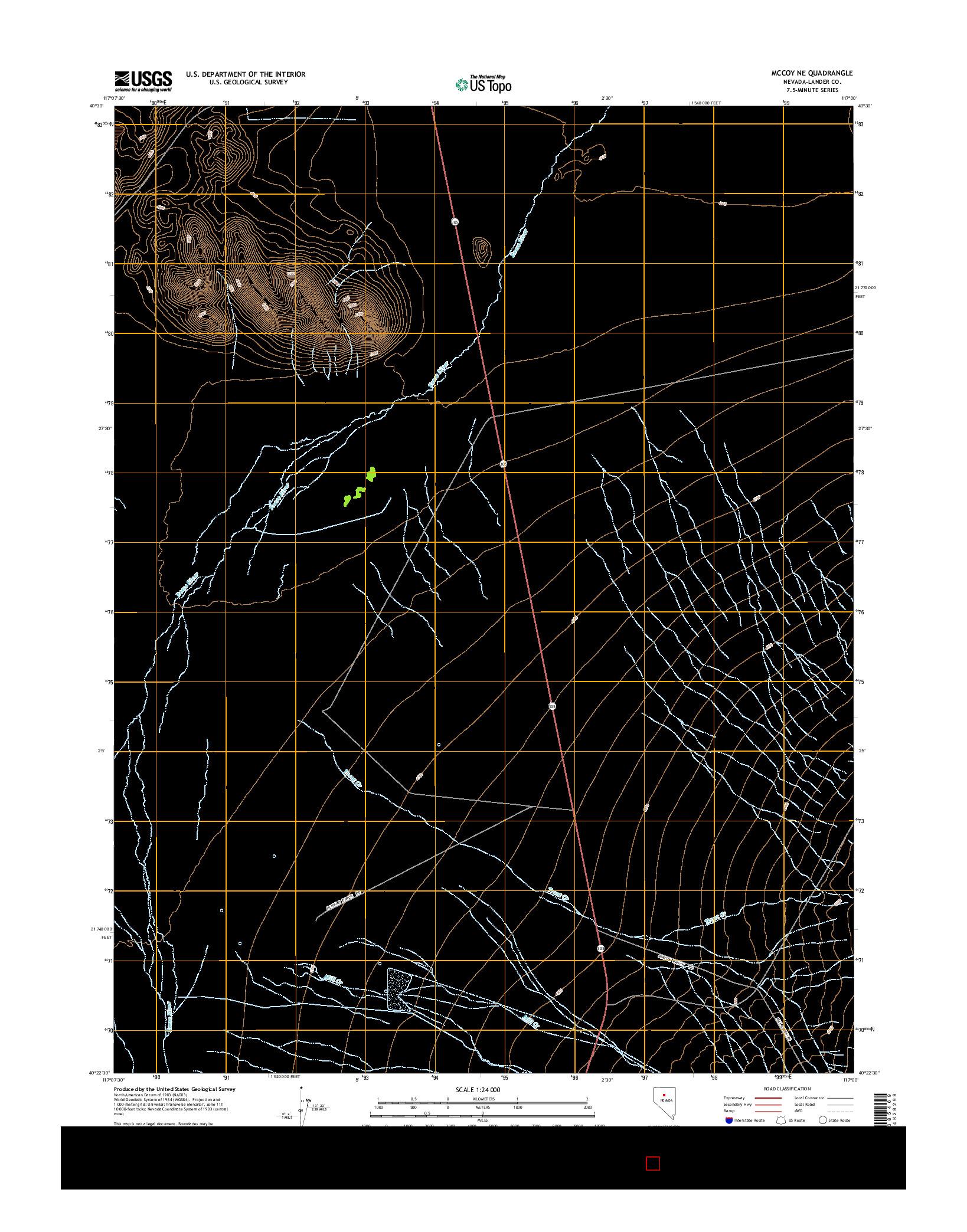 USGS US TOPO 7.5-MINUTE MAP FOR MCCOY NE, NV 2014
