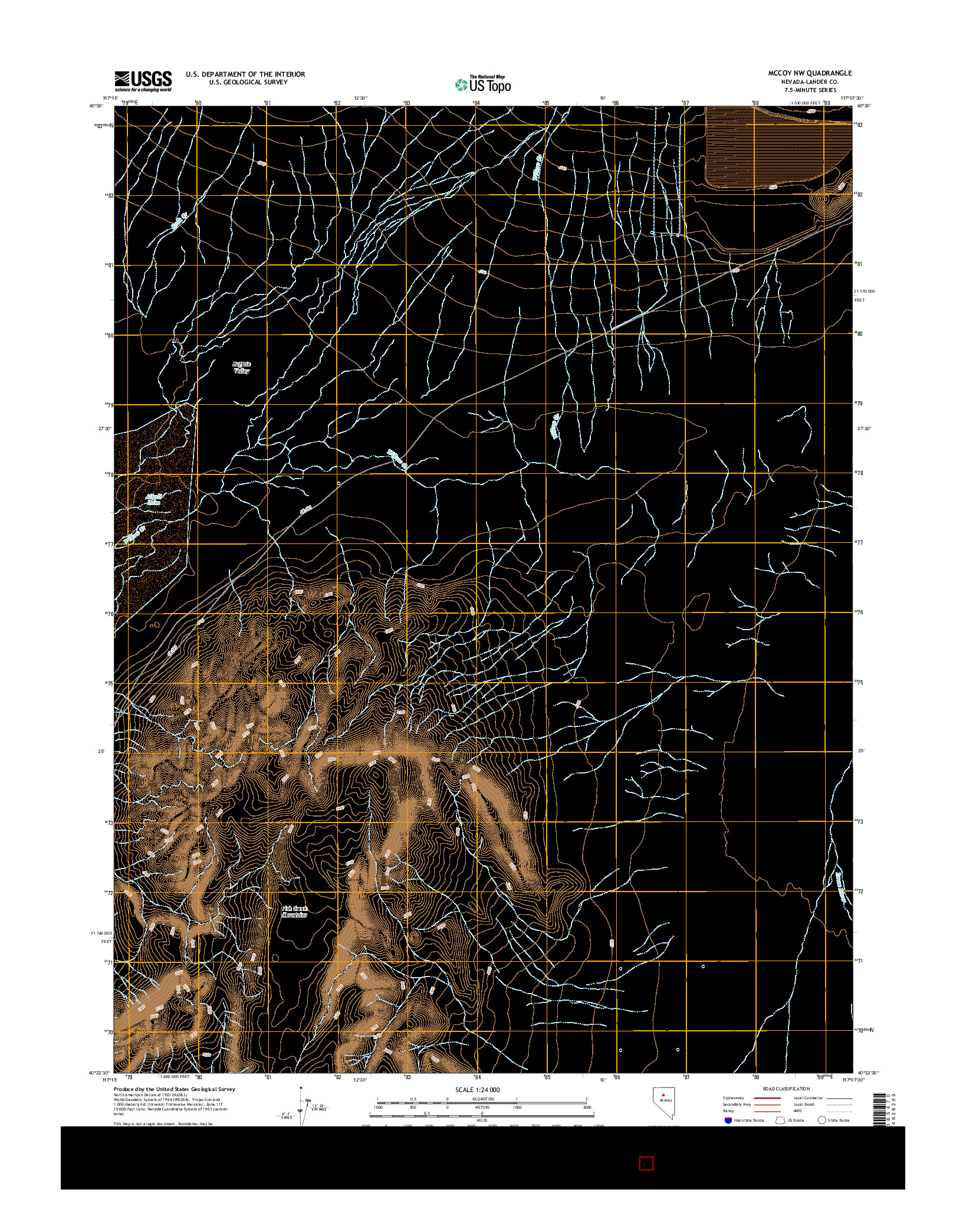USGS US TOPO 7.5-MINUTE MAP FOR MCCOY NW, NV 2014