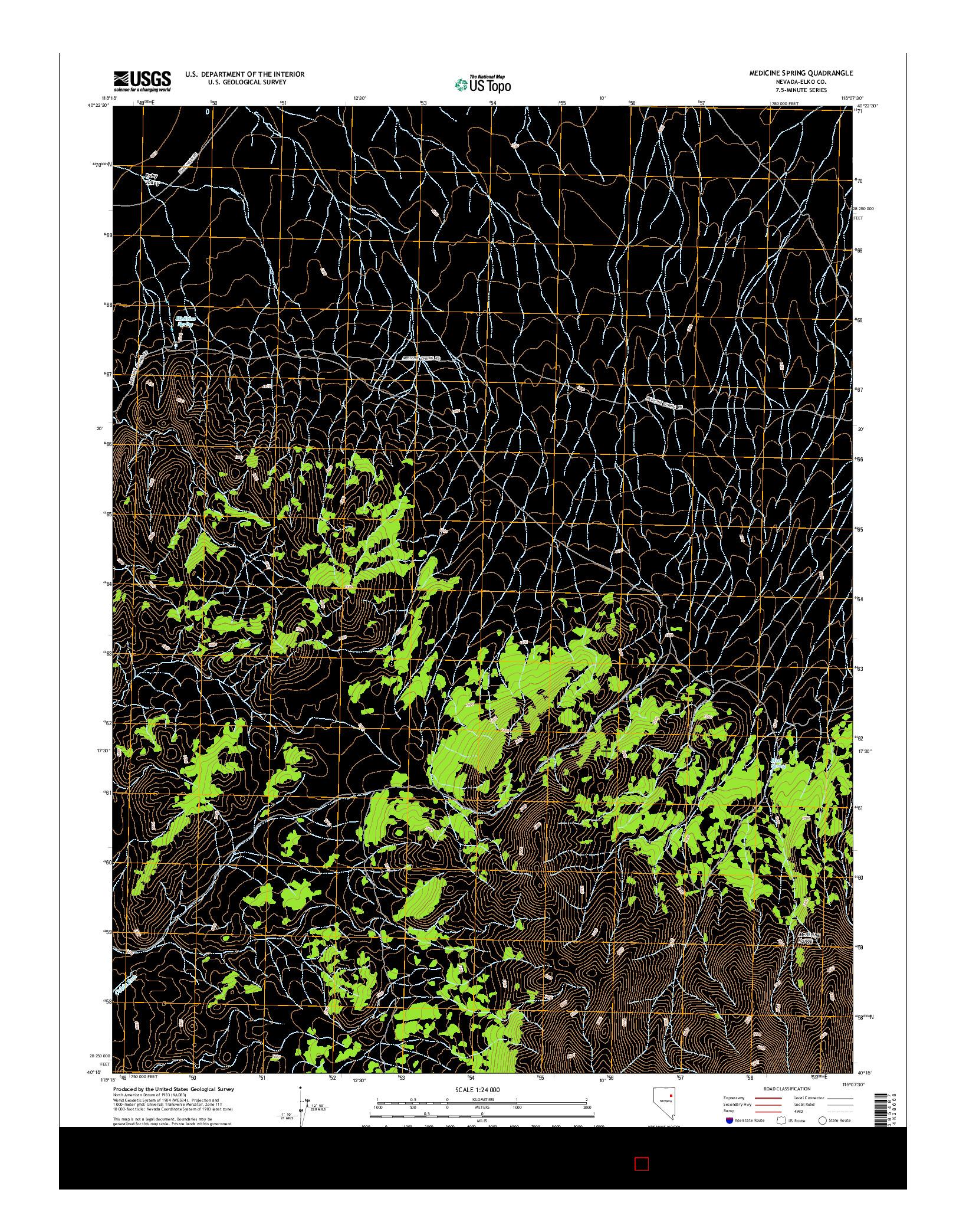 USGS US TOPO 7.5-MINUTE MAP FOR MEDICINE SPRING, NV 2014